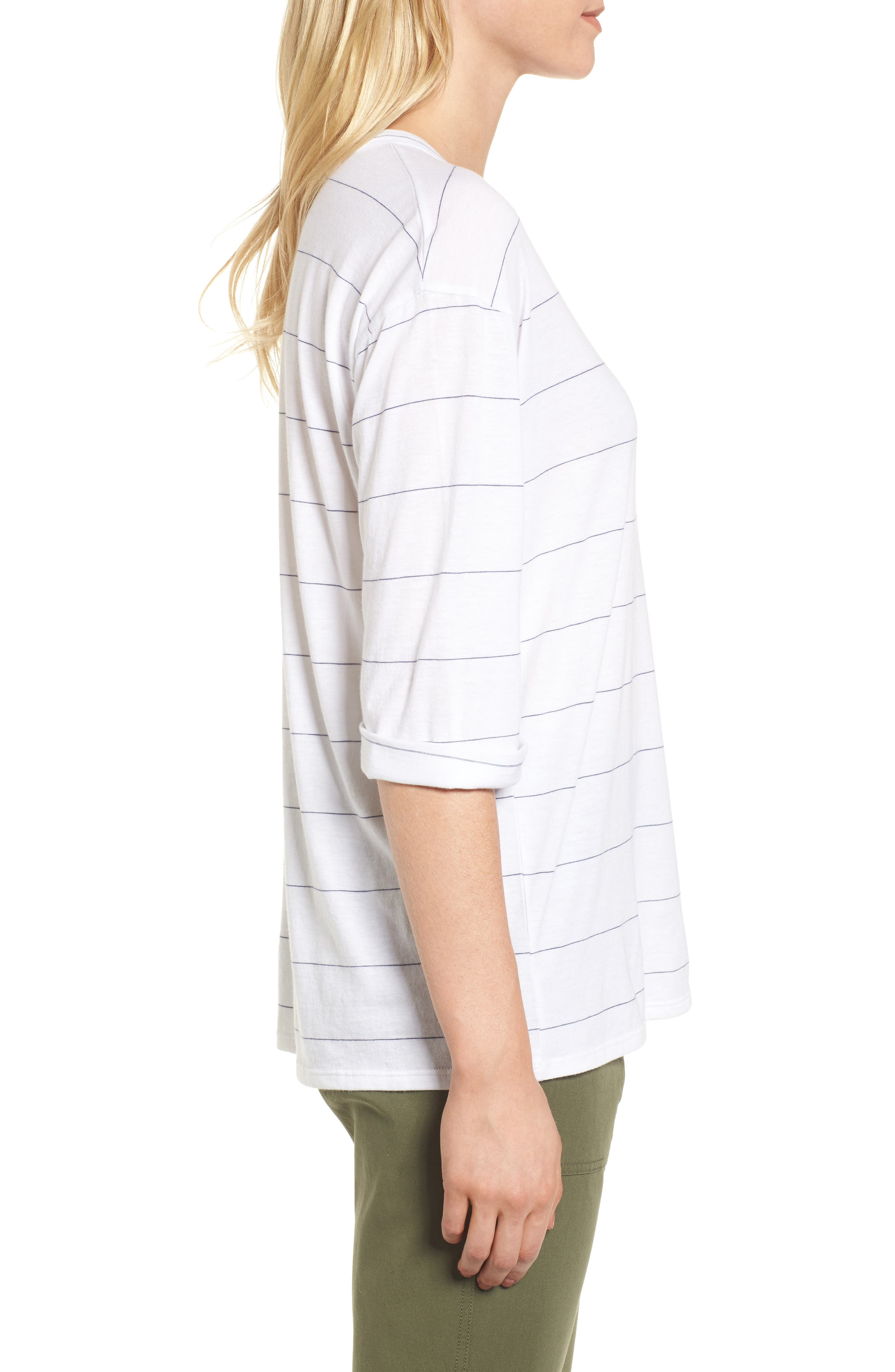 Stripe Relaxed Tee,                             Alternate thumbnail 3, color,                             100