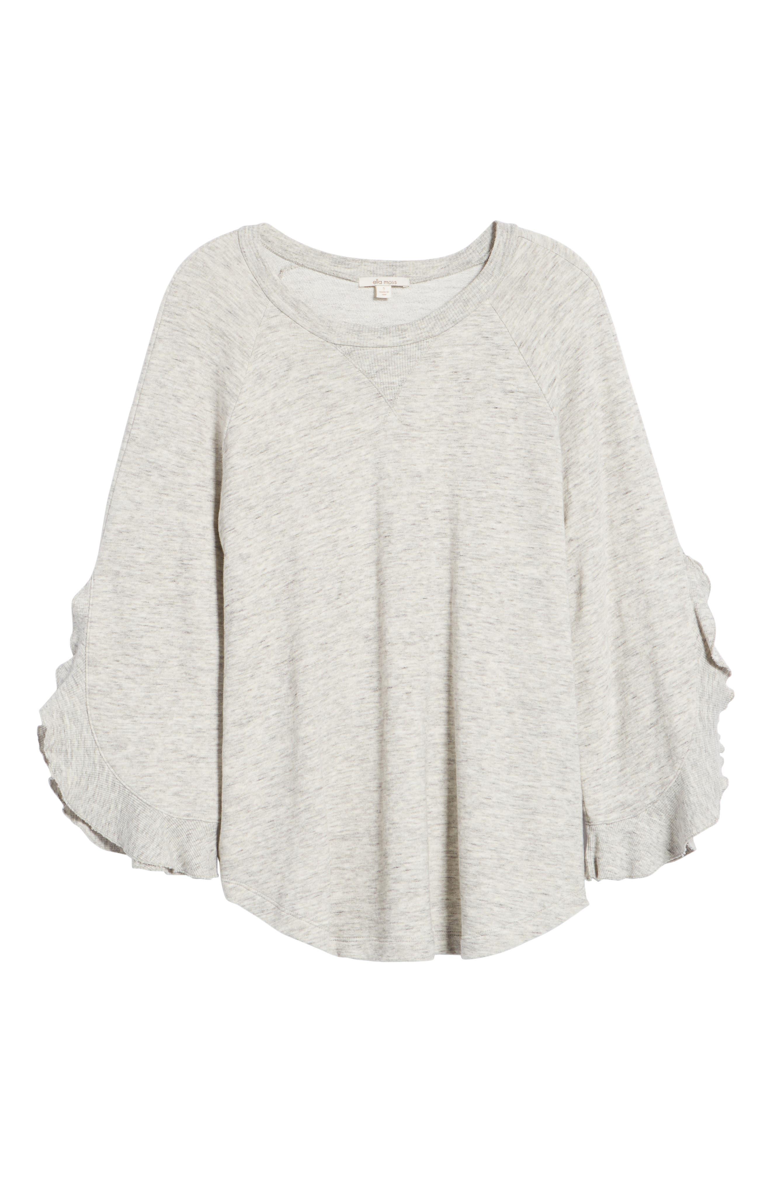Ruffle Split Sleeve Cotton Sweatshirt,                             Alternate thumbnail 11, color,