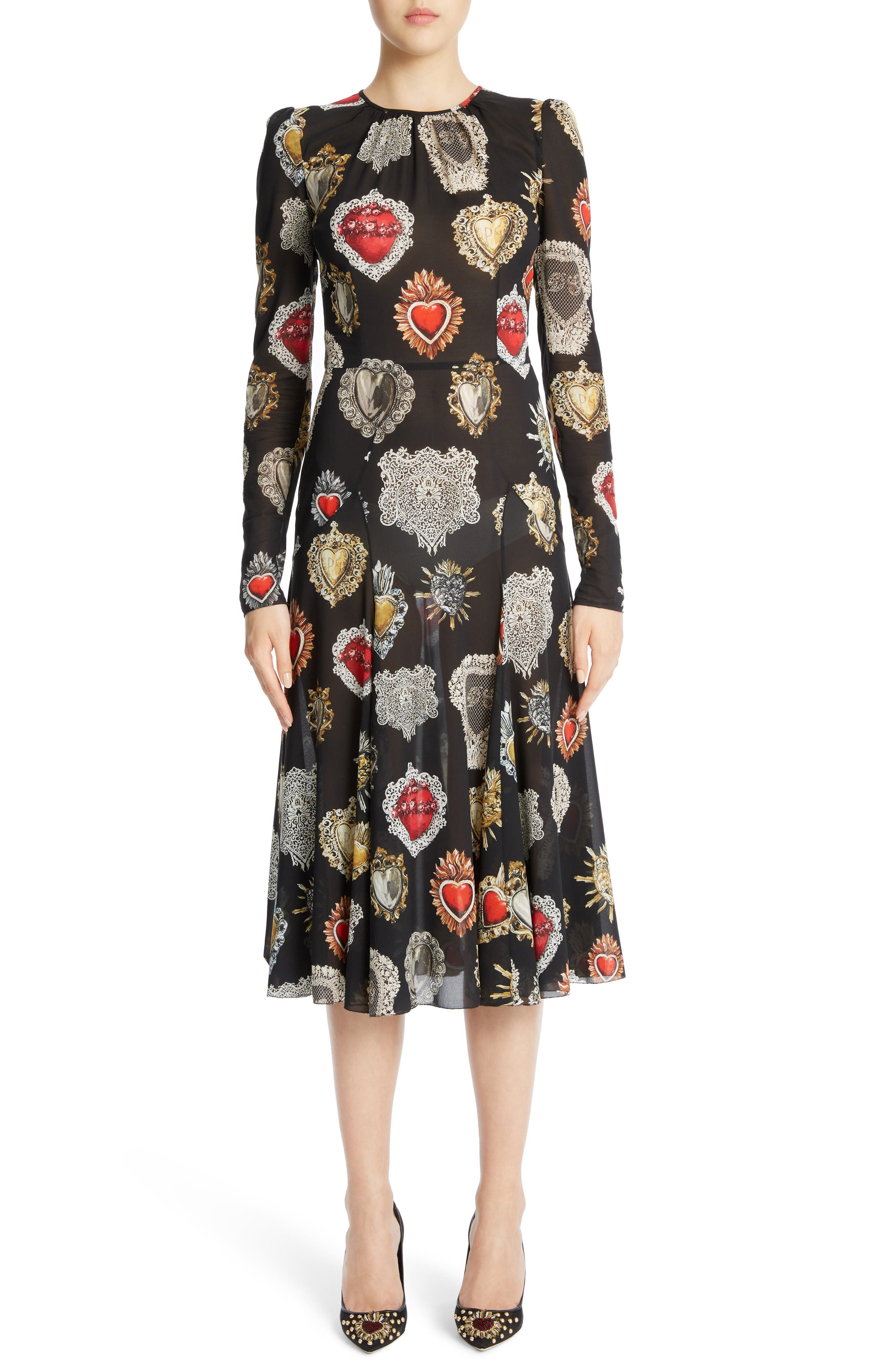 Sacred Heart Silk Blend Dress,                             Main thumbnail 1, color,                             001
