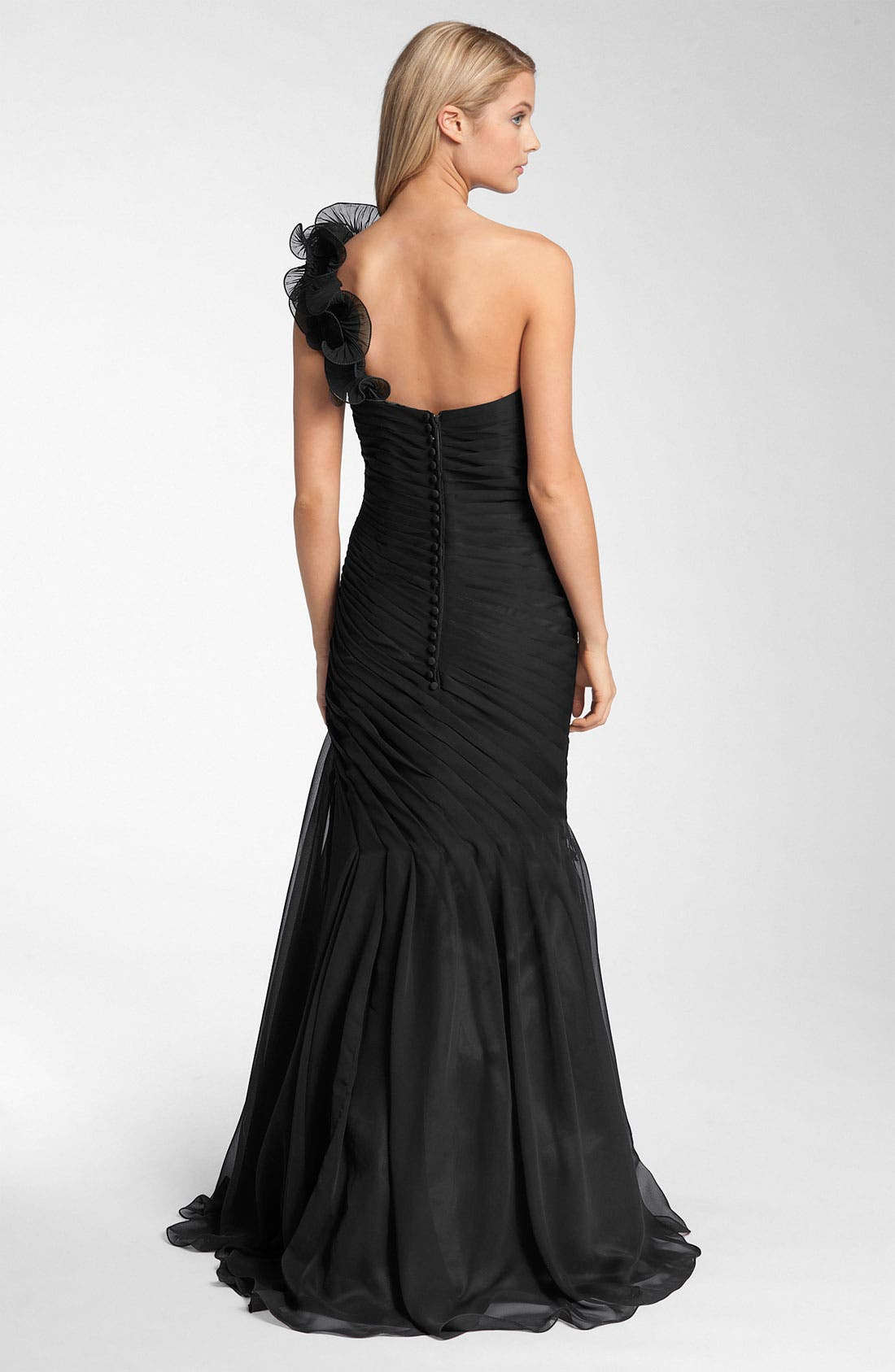 Veni Infantino Pleated One Shoulder Ruffle Gown,                             Alternate thumbnail 2, color,                             001