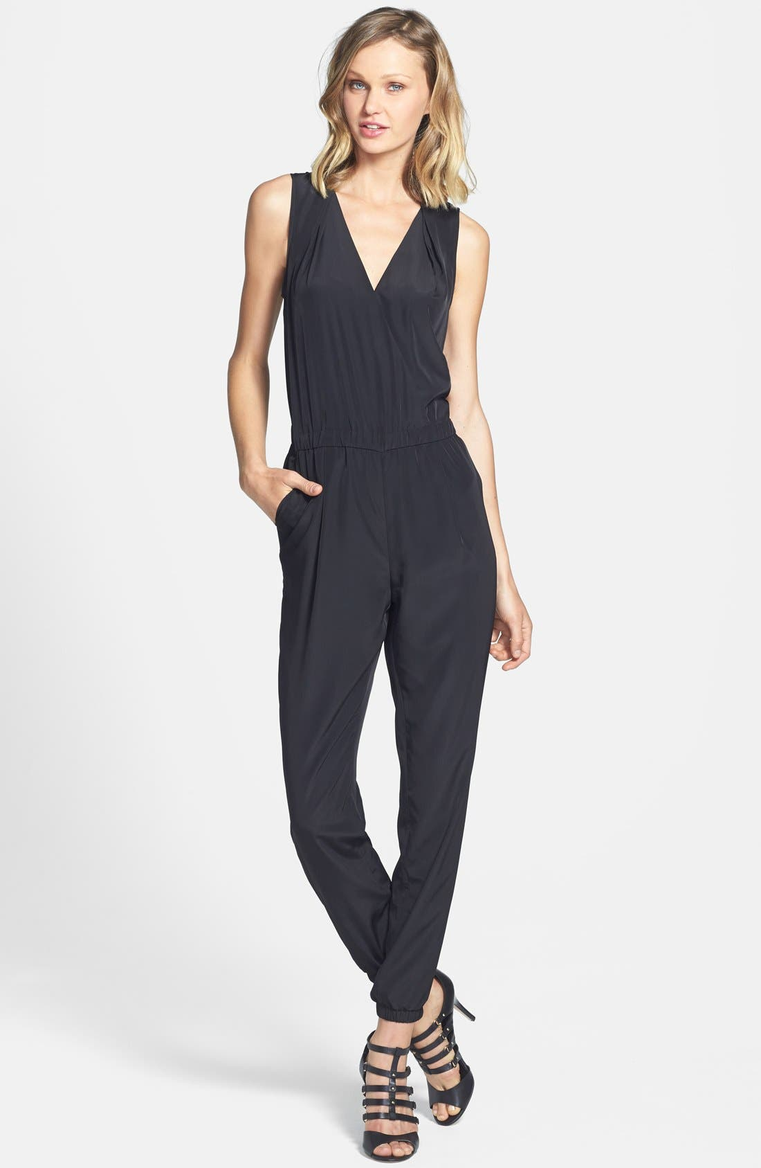 V-Neck Sleeveless Jumpsuit,                         Main,                         color, 001