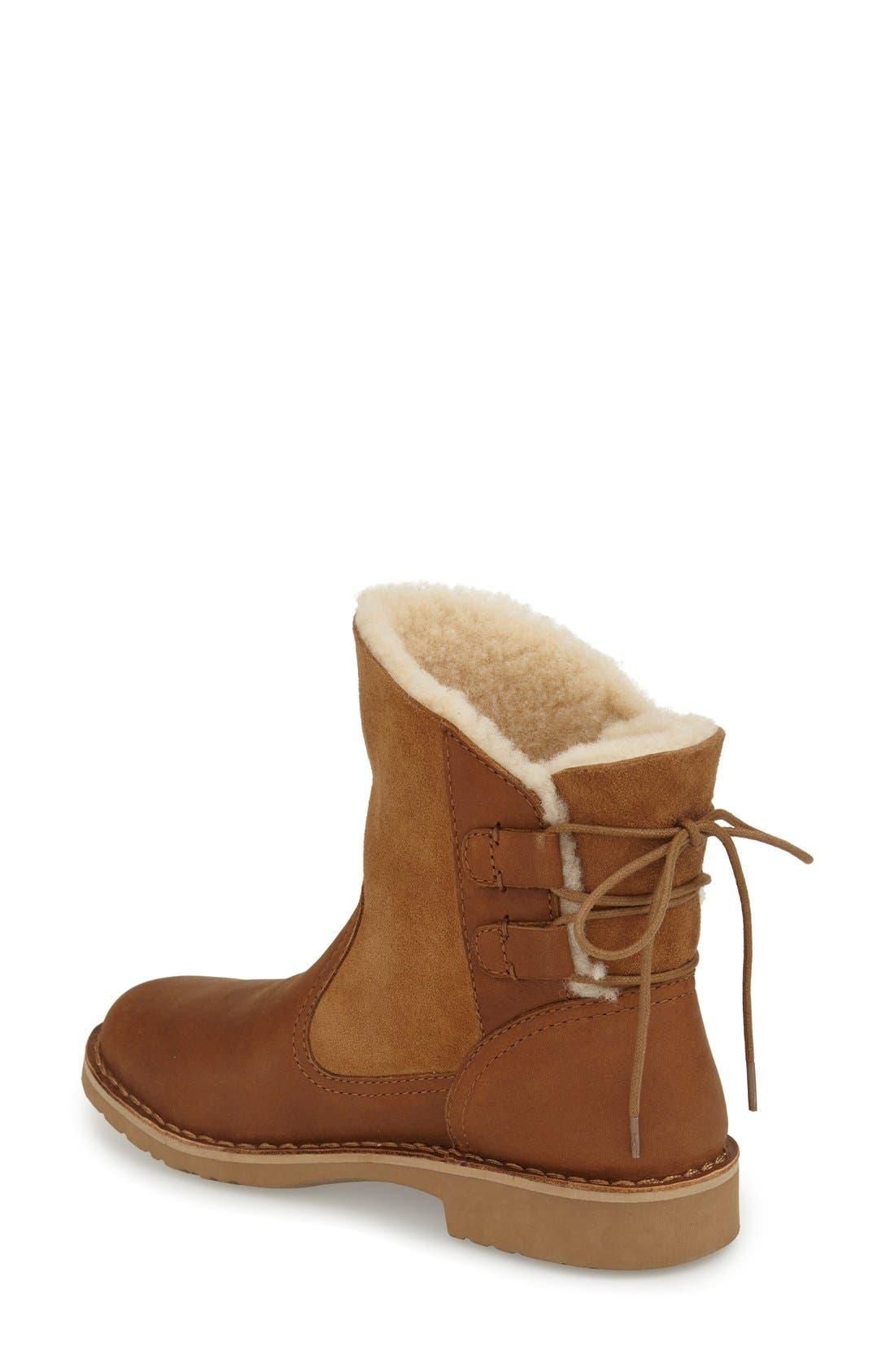 Naiyah Lace-Back Genuine Shearling Boot,                             Alternate thumbnail 3, color,                             219