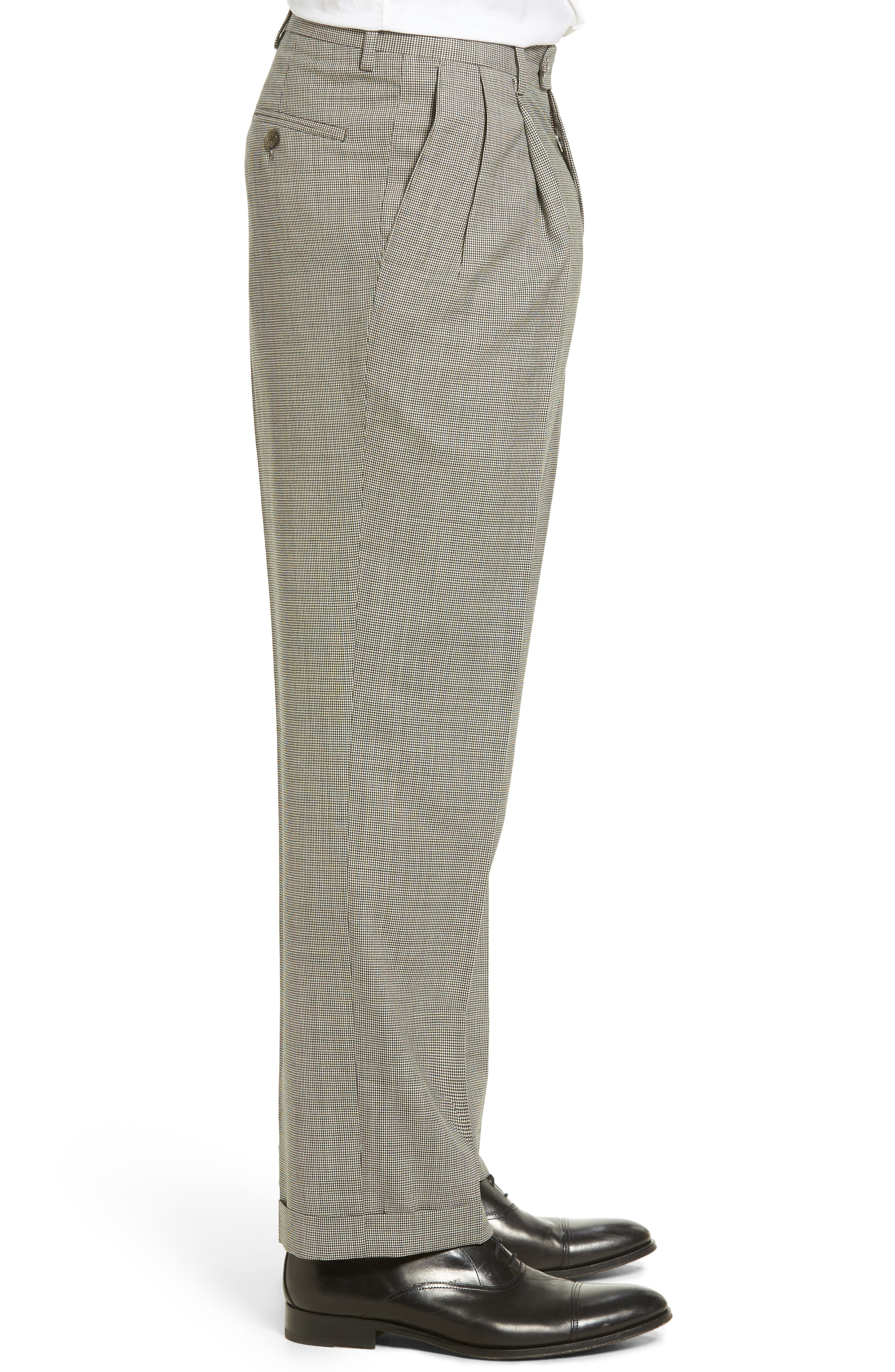 Pleated Houndstooth Wool Trousers,                             Alternate thumbnail 4, color,                             020