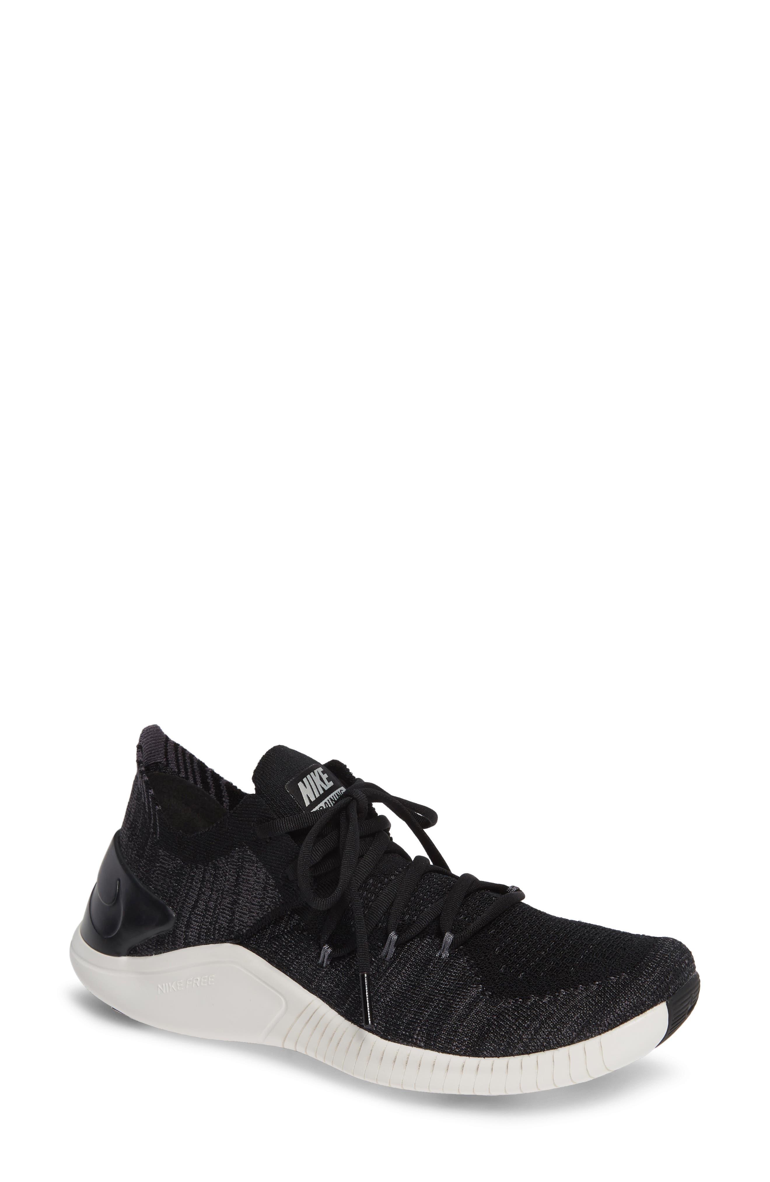 Free TR Flyknit 3 Training Shoe,                         Main,                         color, BLACK/ DARK GREY-PHANTOM
