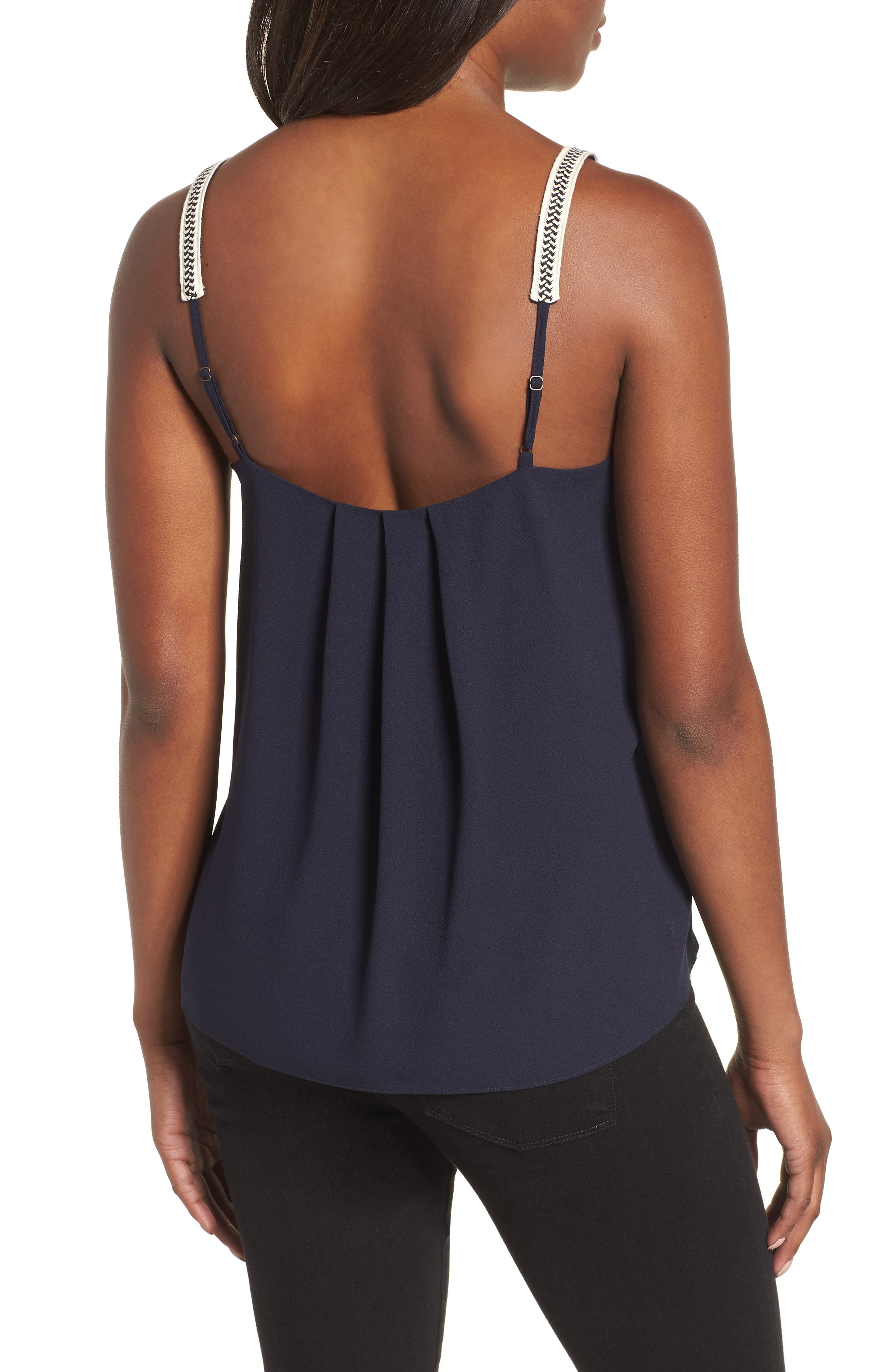 Embroidered Strap Camisole,                             Alternate thumbnail 2, color,                             NIGHT NAVY
