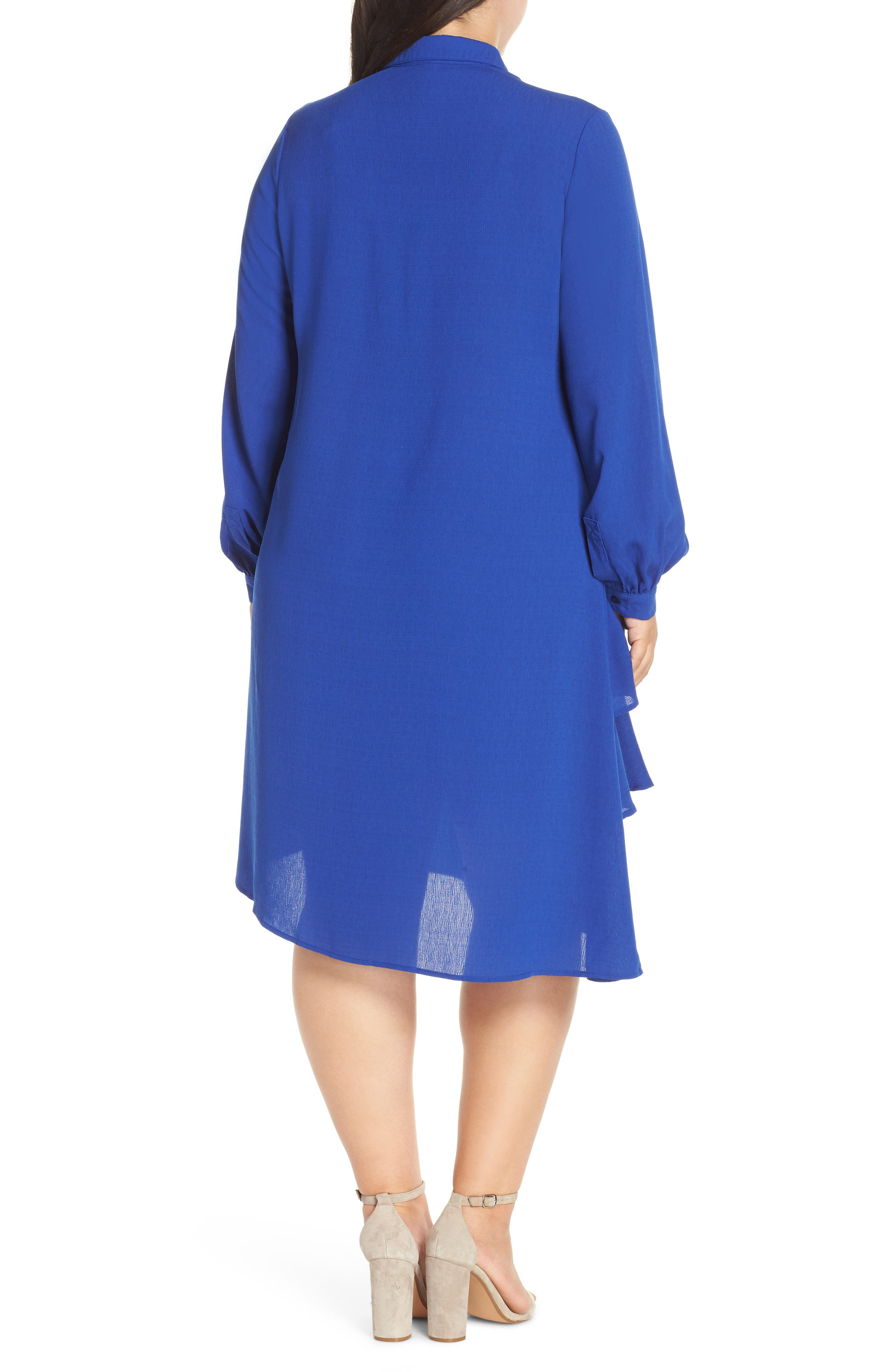Frilly Shirtdress,                             Alternate thumbnail 2, color,                             BLUE