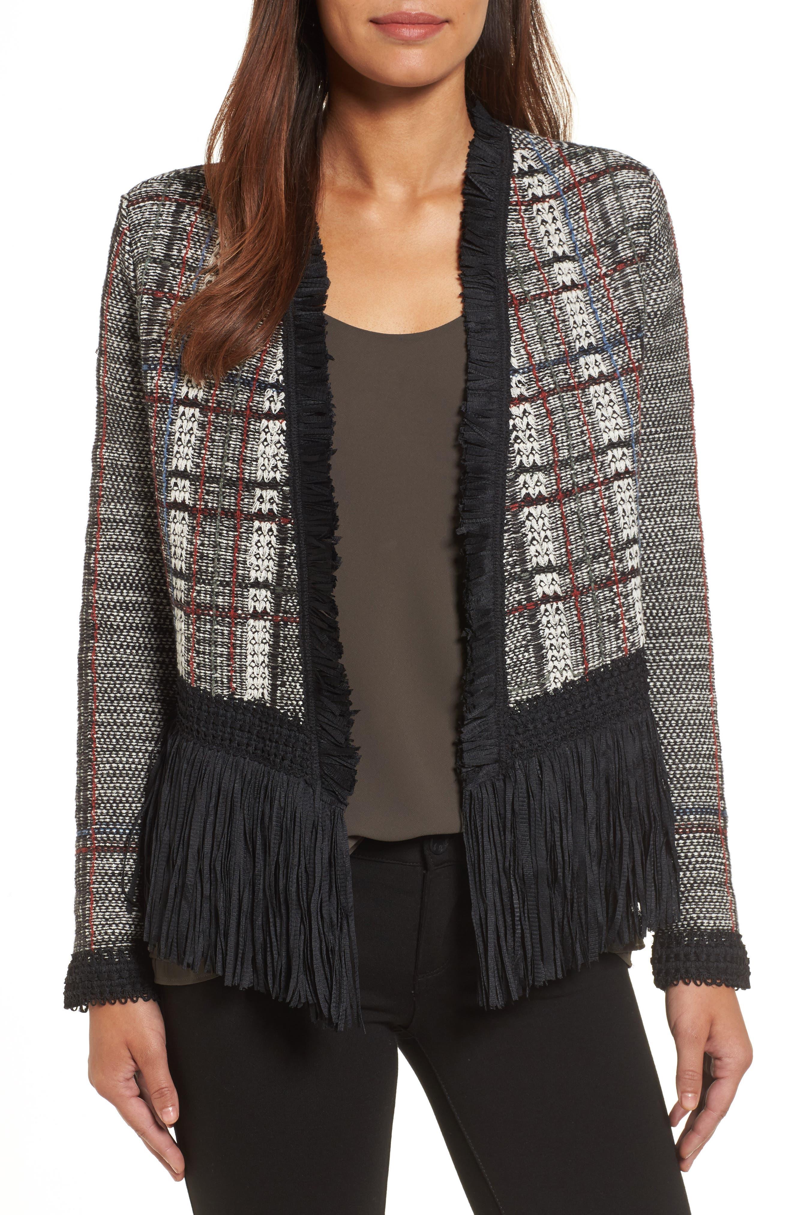 Plaid Tweed Fringe Jacket,                             Main thumbnail 1, color,                             090