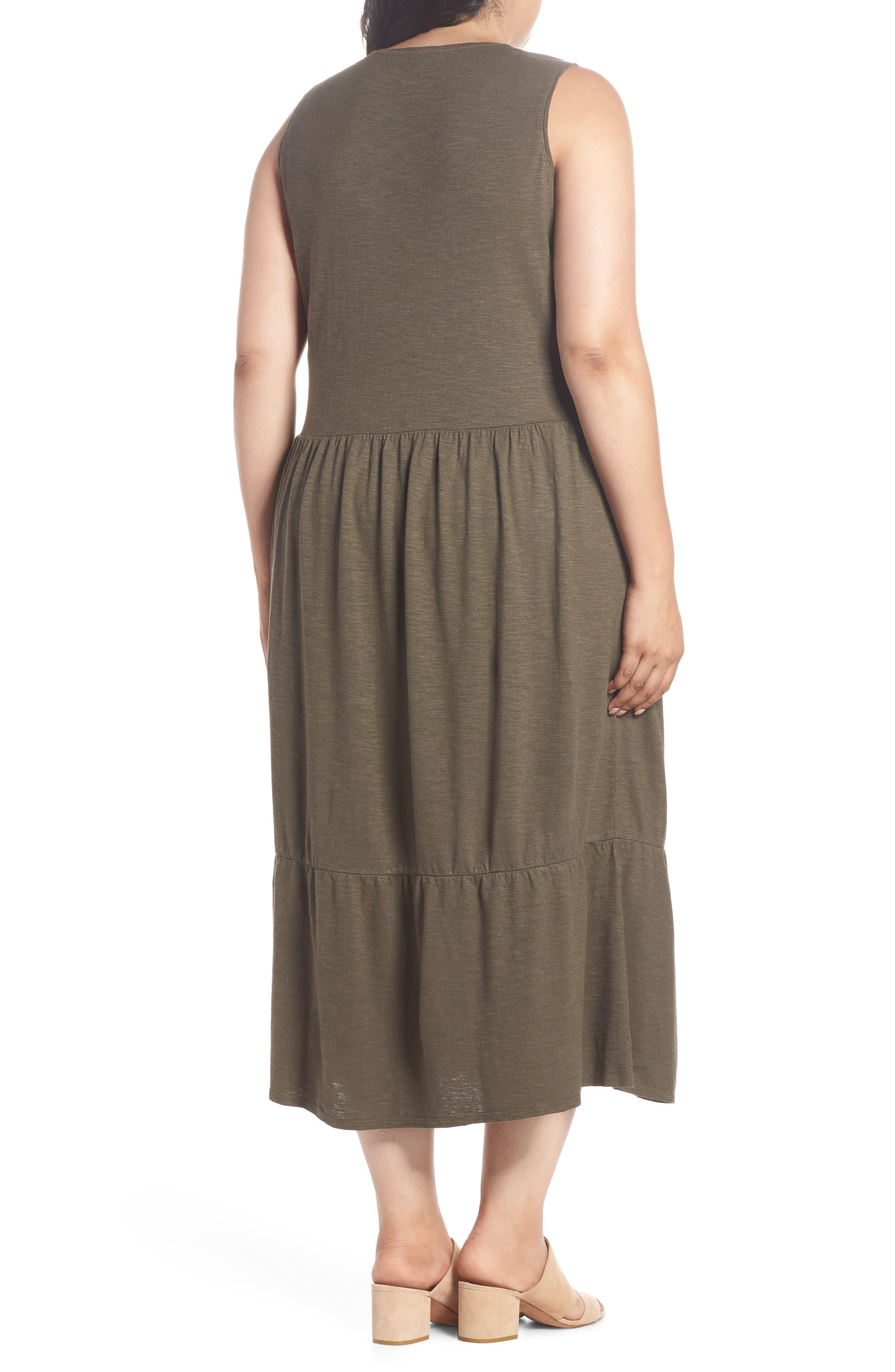 Scooped Neck Hemp & Cotton Midi Dress,                             Alternate thumbnail 2, color,                             359
