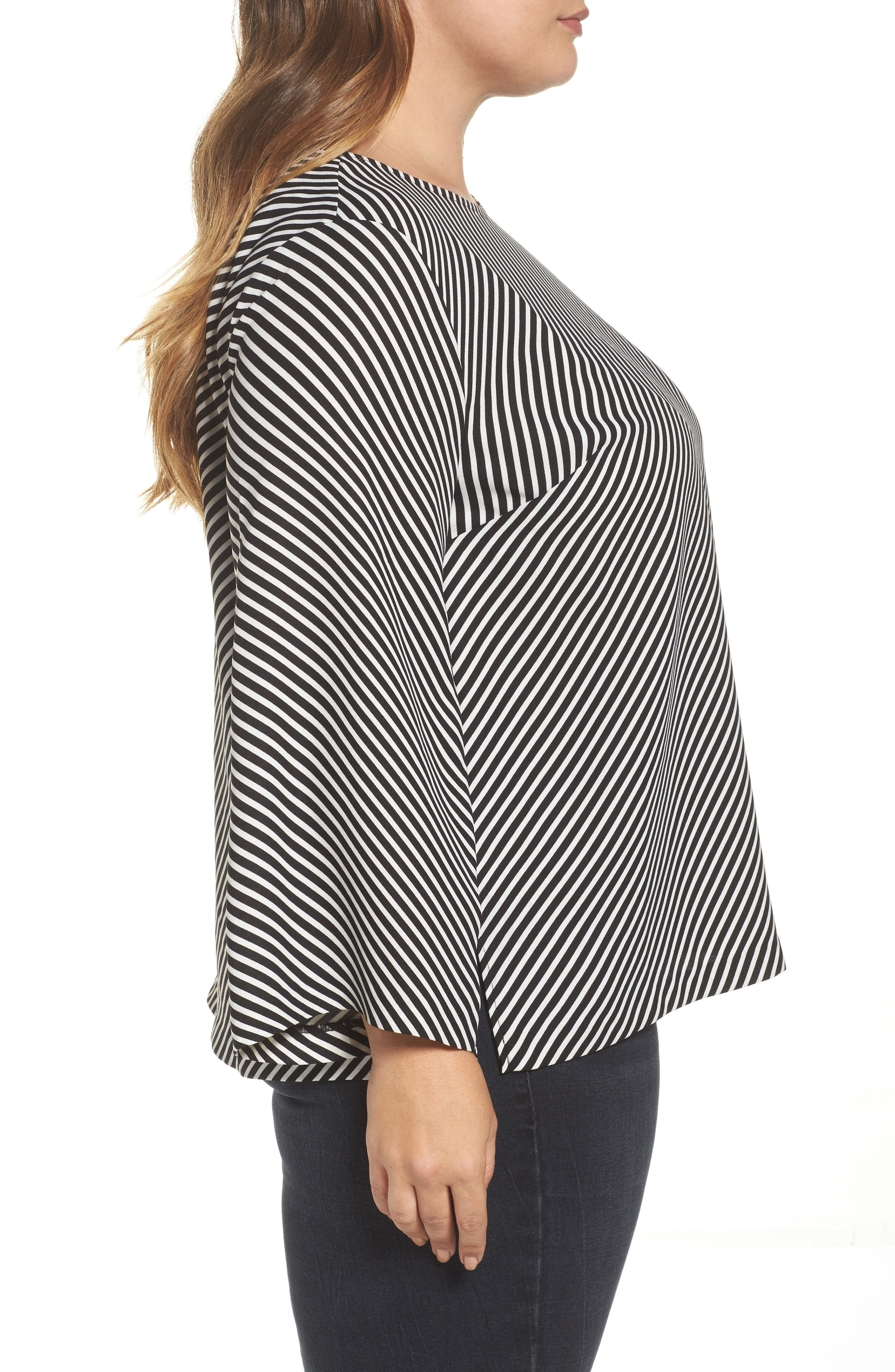 Bell Sleeve Diagonal Stripe Blouse,                             Alternate thumbnail 3, color,                             006