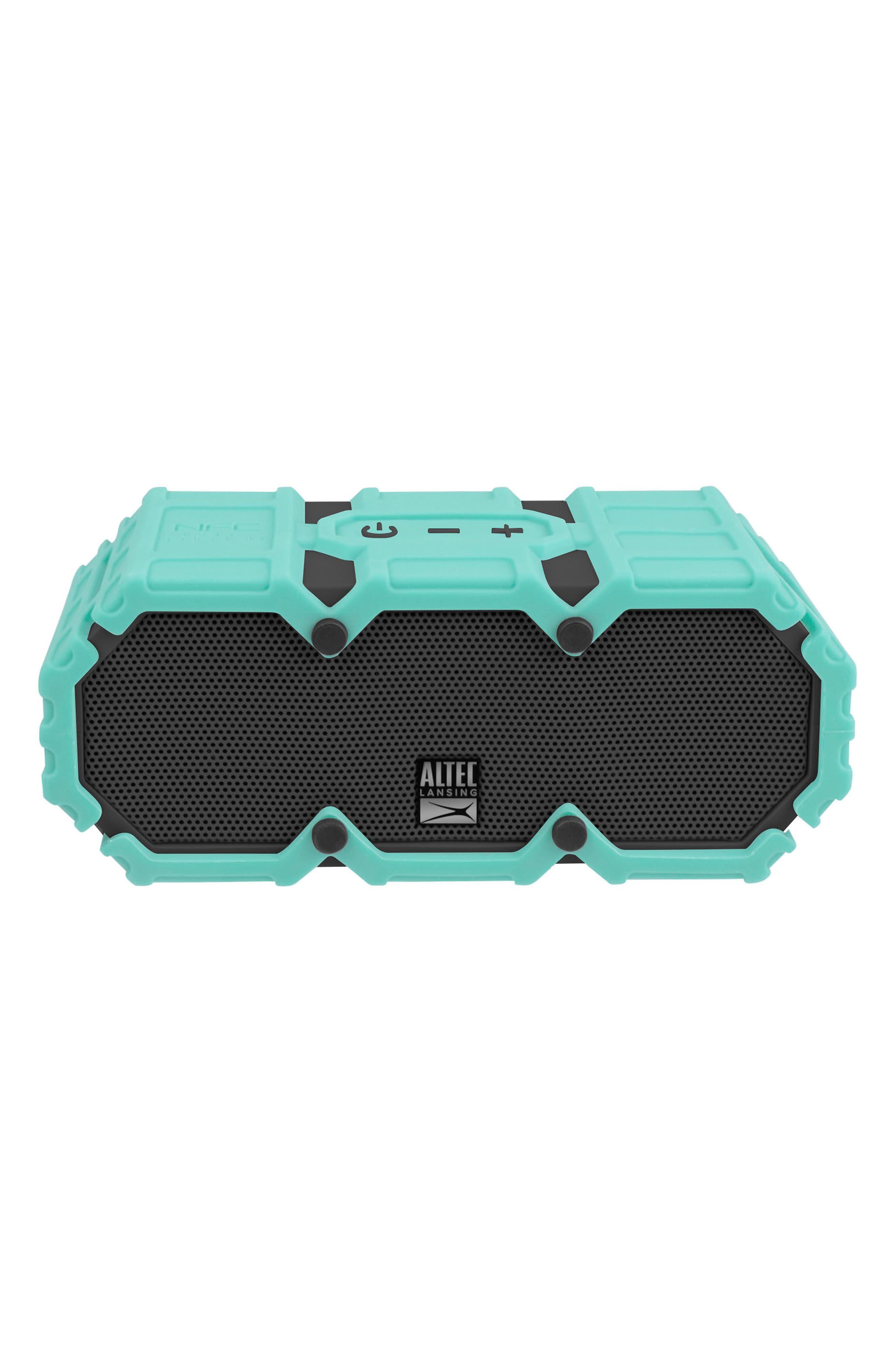 Mini Lifejacket S3 Waterproof Wireless Speaker,                             Main thumbnail 1, color,                             MINT GREEN/ DARK GREY