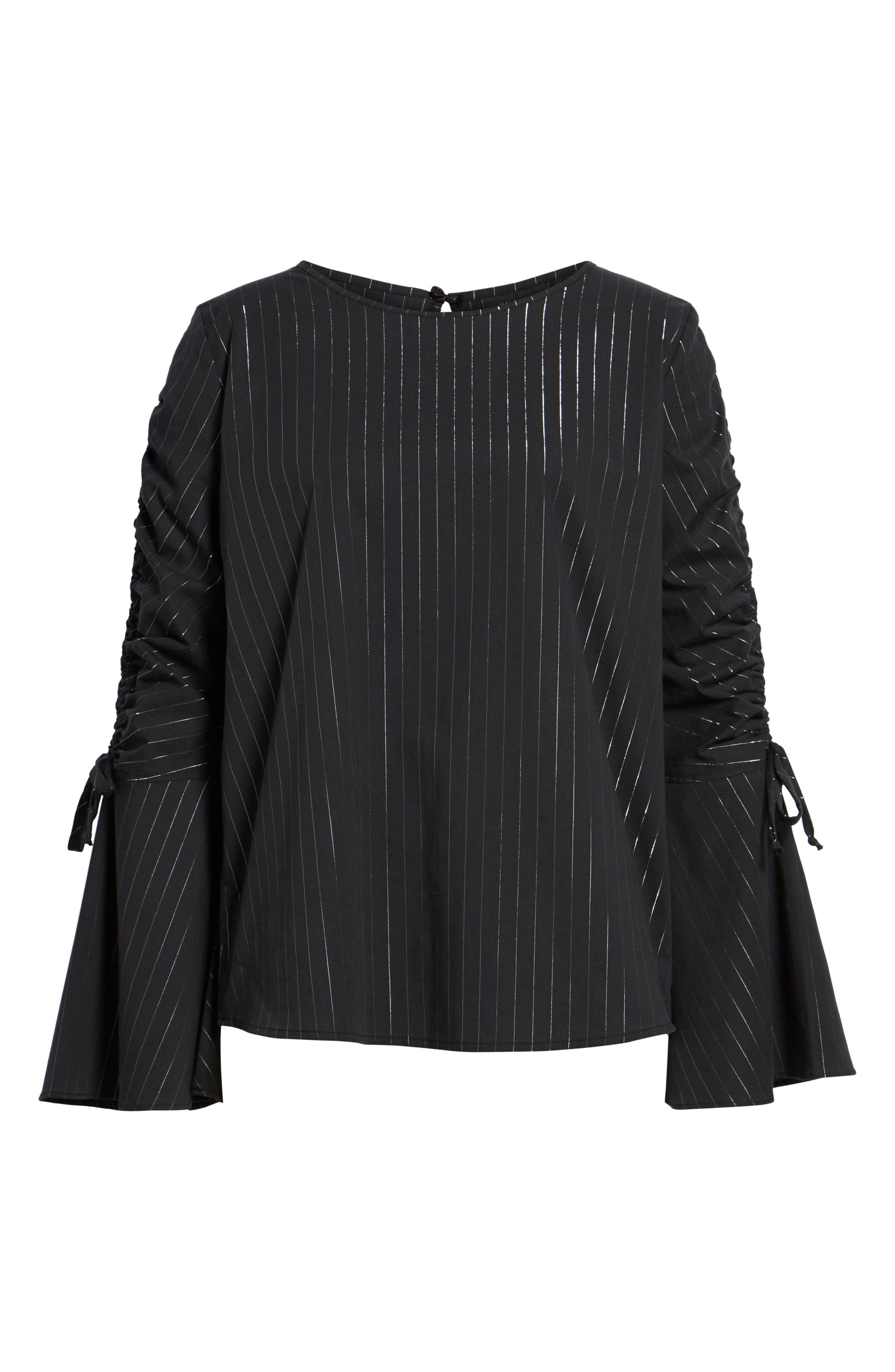 Ruched Sleeve Stripe Top,                             Alternate thumbnail 6, color,                             001