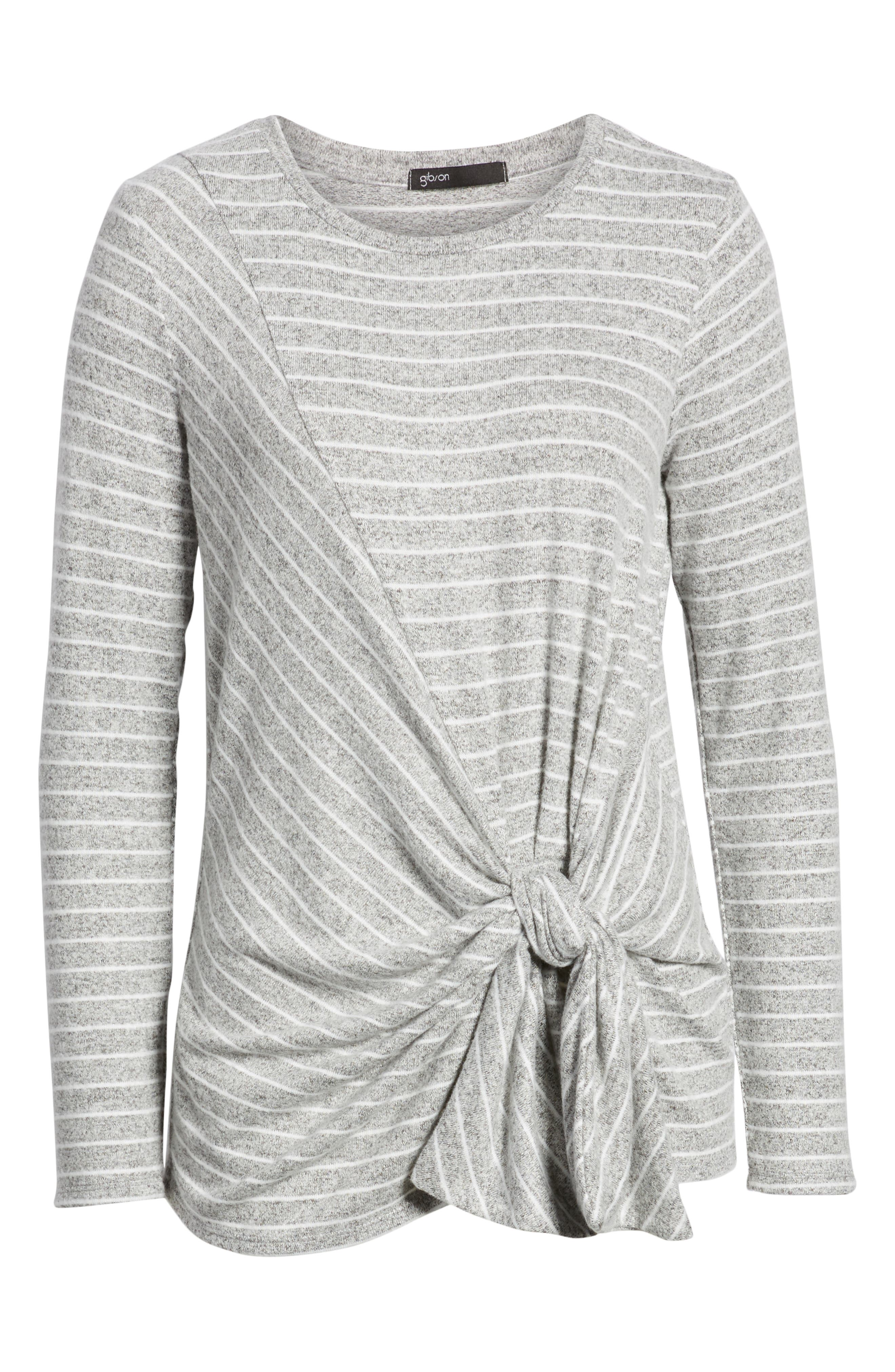 x Living in Yellow Lou Tie Front Fleece Sweater,                             Alternate thumbnail 6, color,                             GREY/ IVORY