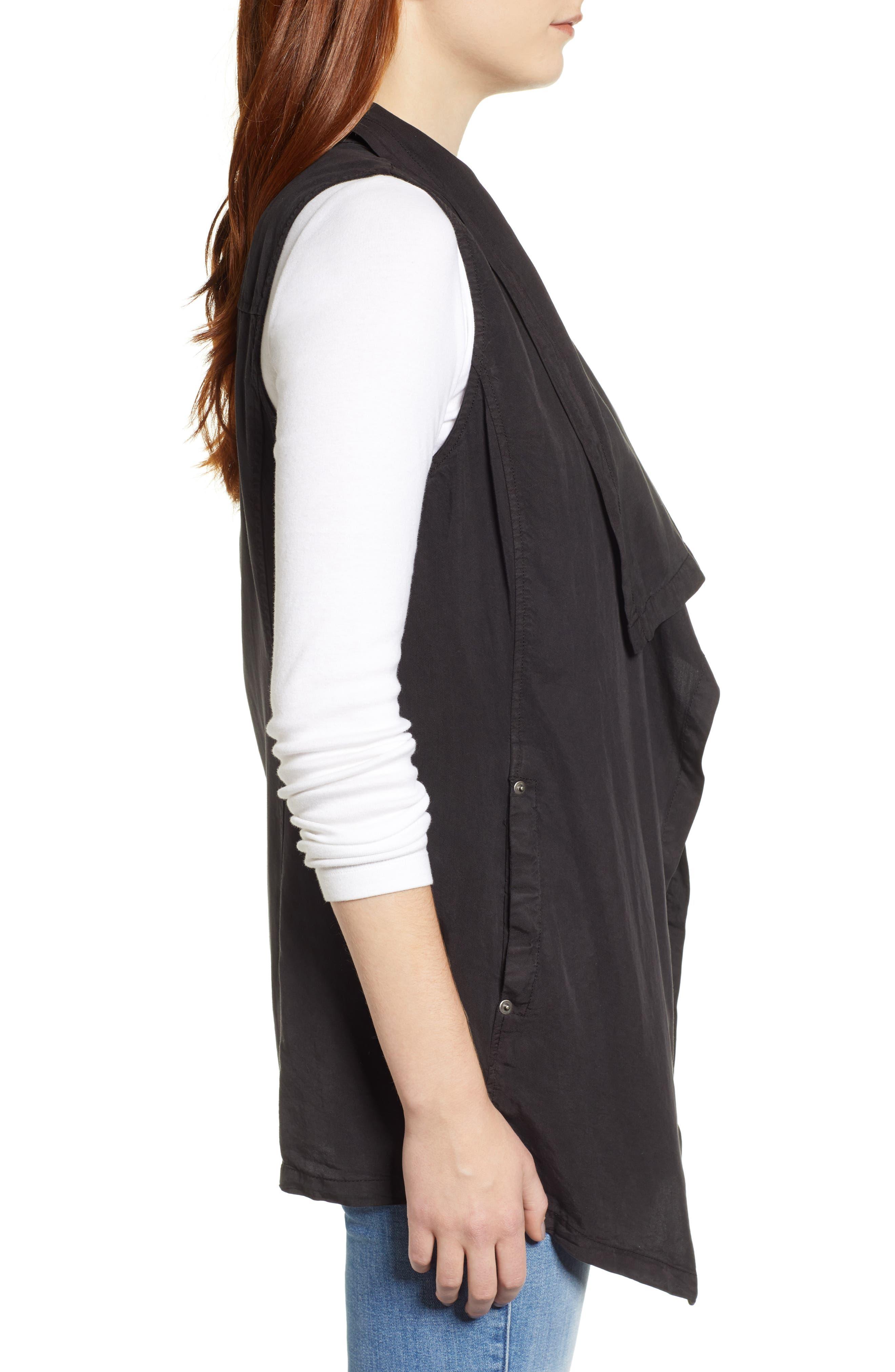 Drape Front Vest,                             Alternate thumbnail 3, color,                             BLACK SOOT