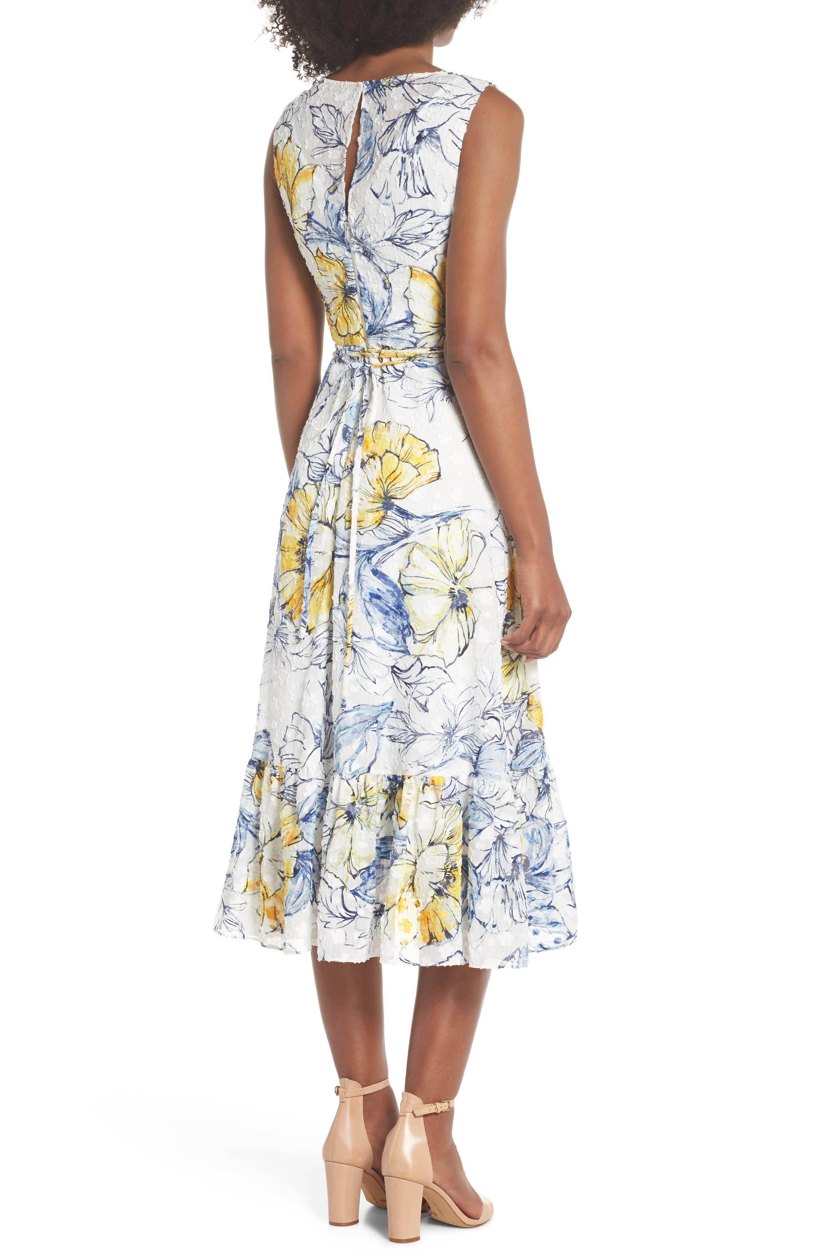 Floral Print Midi Dress,                             Alternate thumbnail 2, color,                             461
