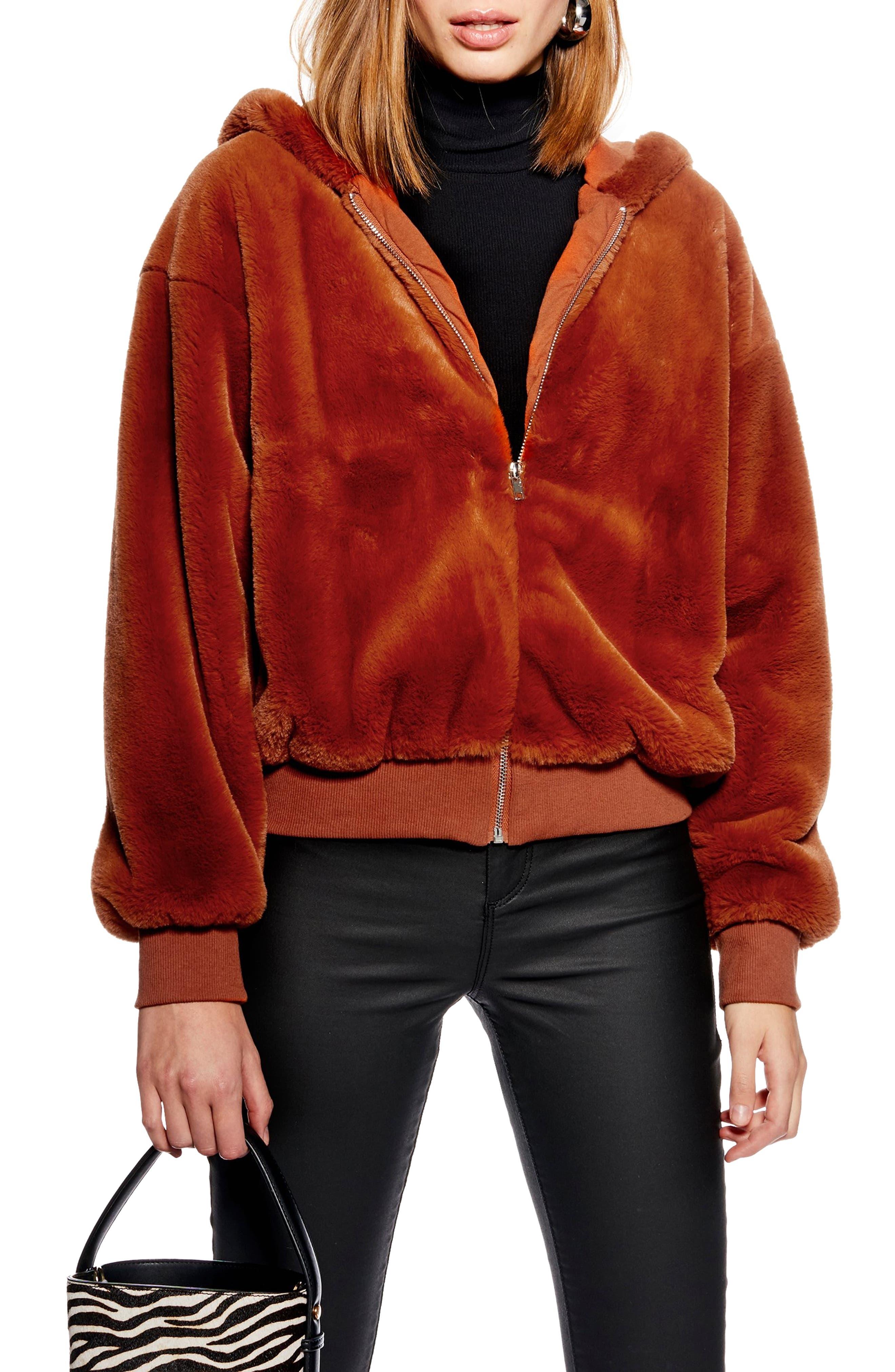 Topshop Faux Fur Zip Hooded Sweatshirt