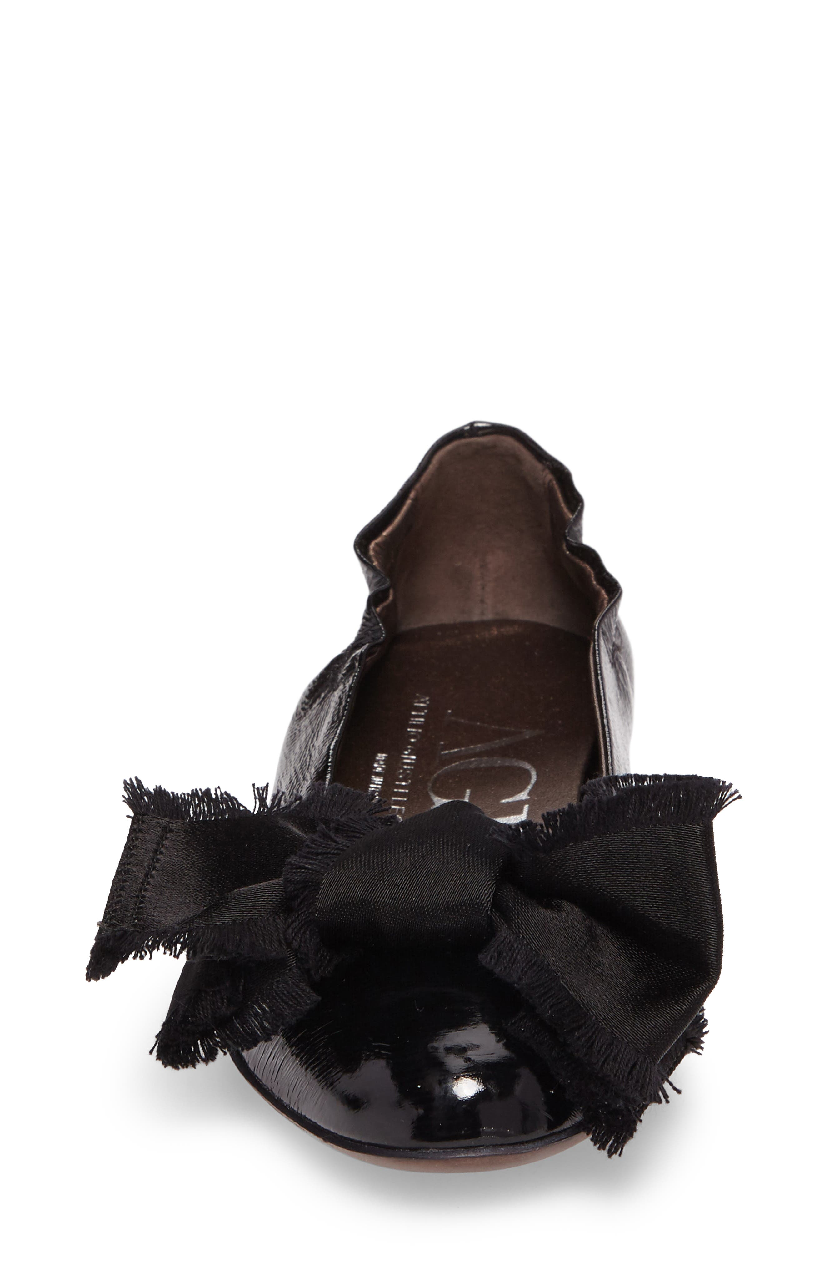 Satin Bow Ballet Flat,                             Alternate thumbnail 4, color,                             BLACK LEATHER