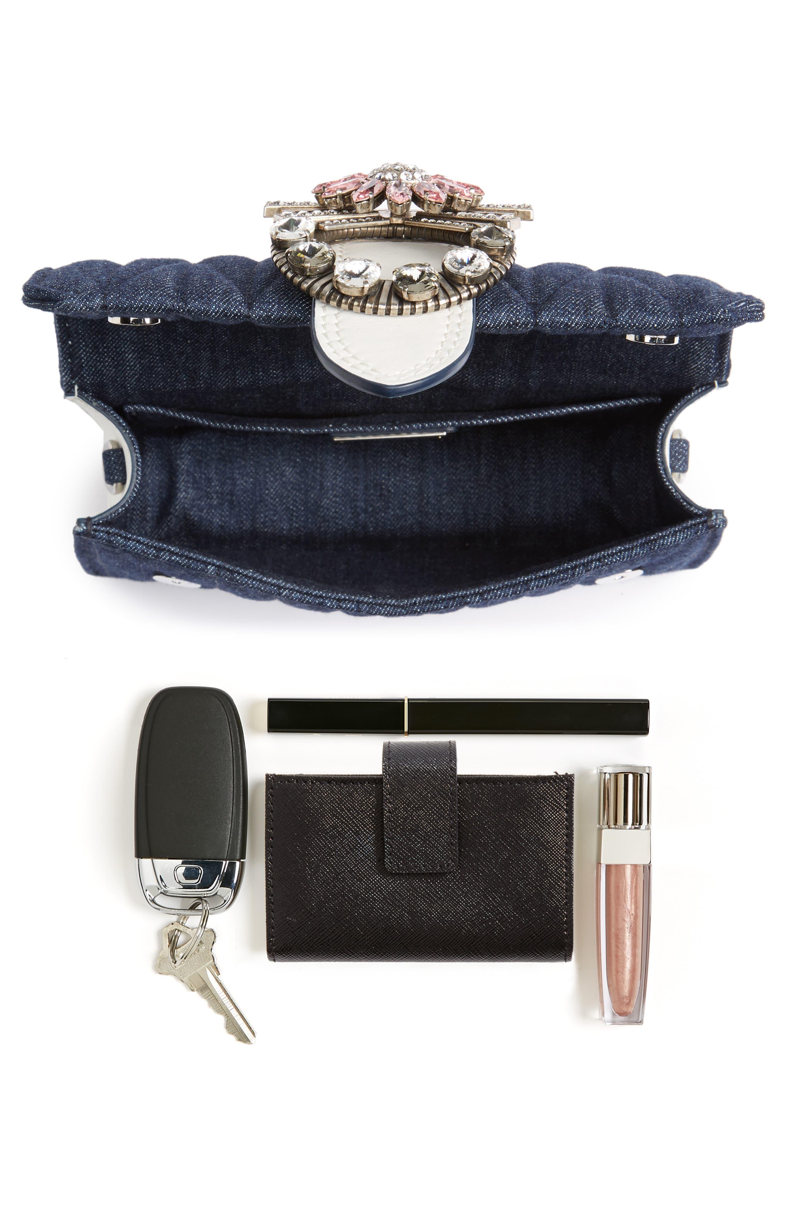 Matelassé Denim Embellished Shoulder Bag,                             Alternate thumbnail 7, color,                             BLU/ BIANCO