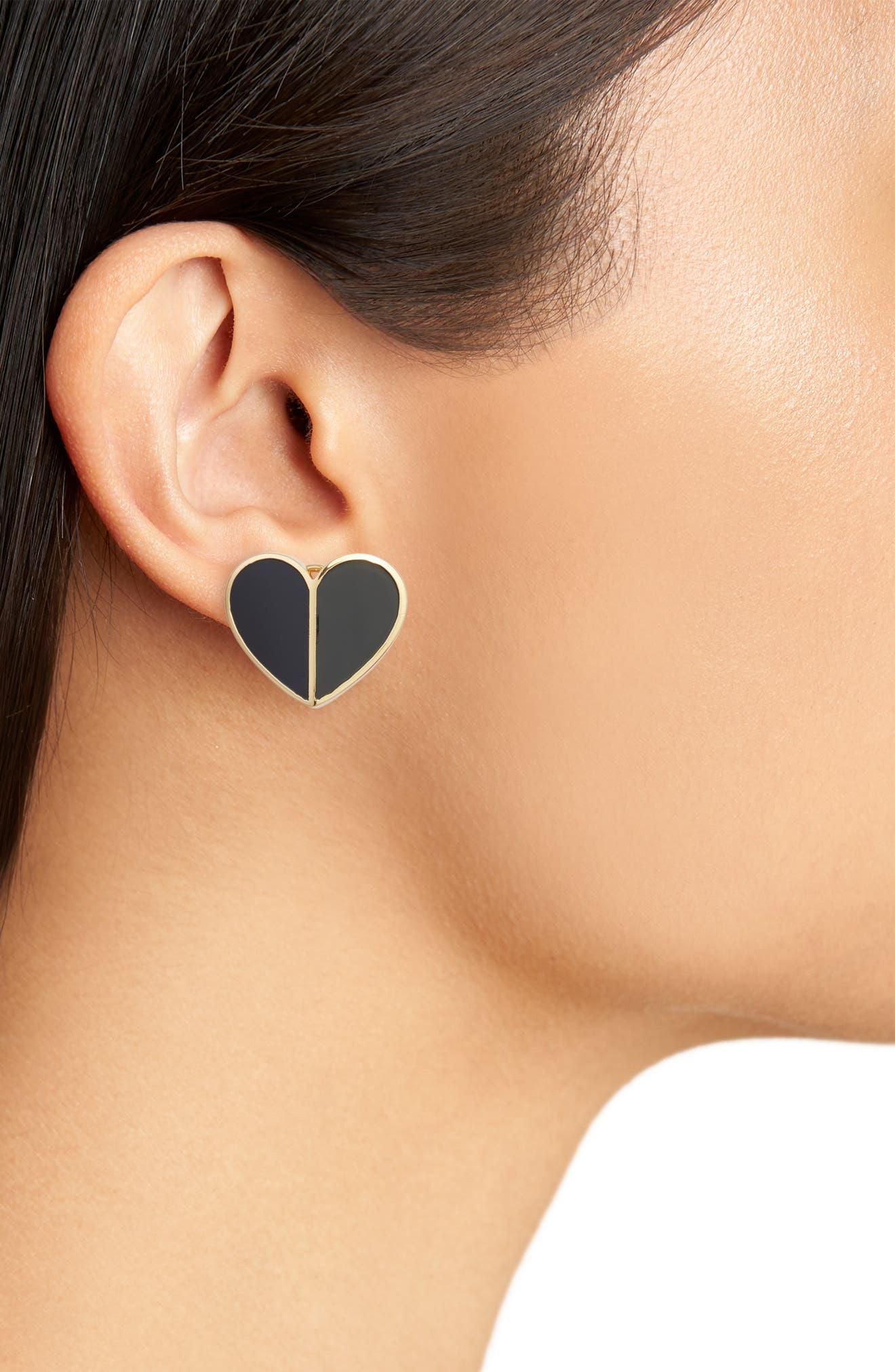 heart statement stud earrings,                             Alternate thumbnail 2, color,                             BLACK