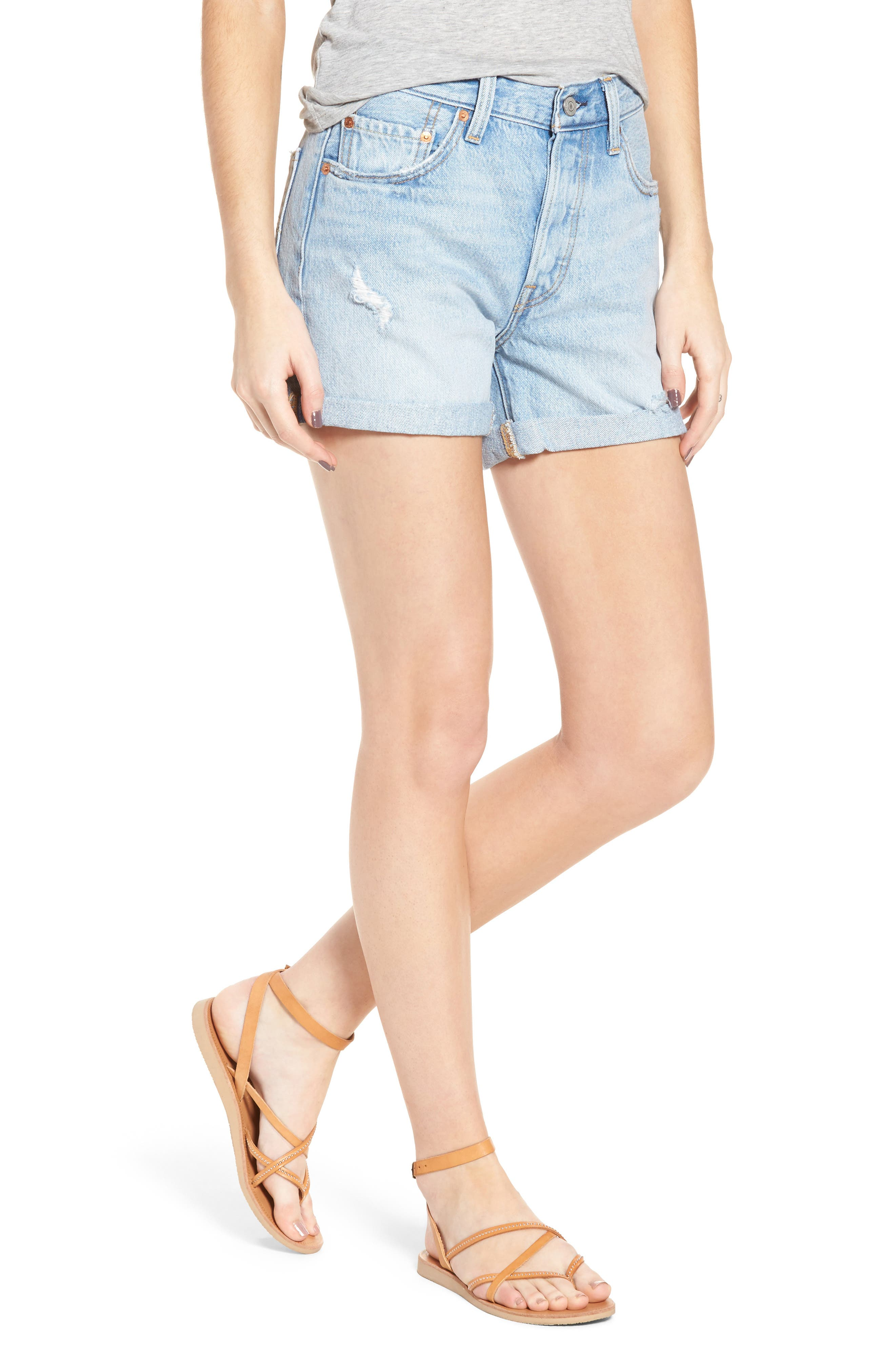 501<sup>®</sup> Cuffed Long Denim Shorts,                         Main,                         color,