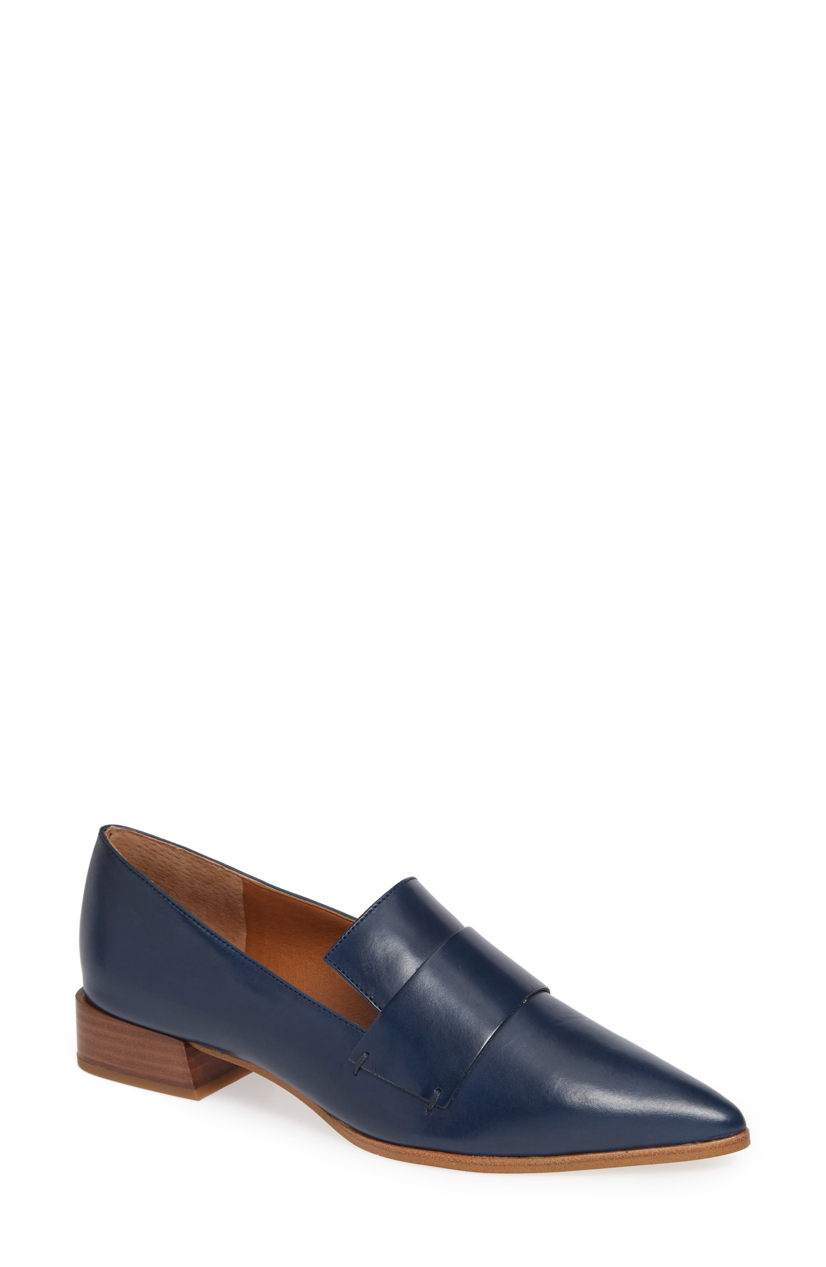 Nebby 2 Pointy Toe Loafer,                             Main thumbnail 1, color,                             NAVY LEATHER
