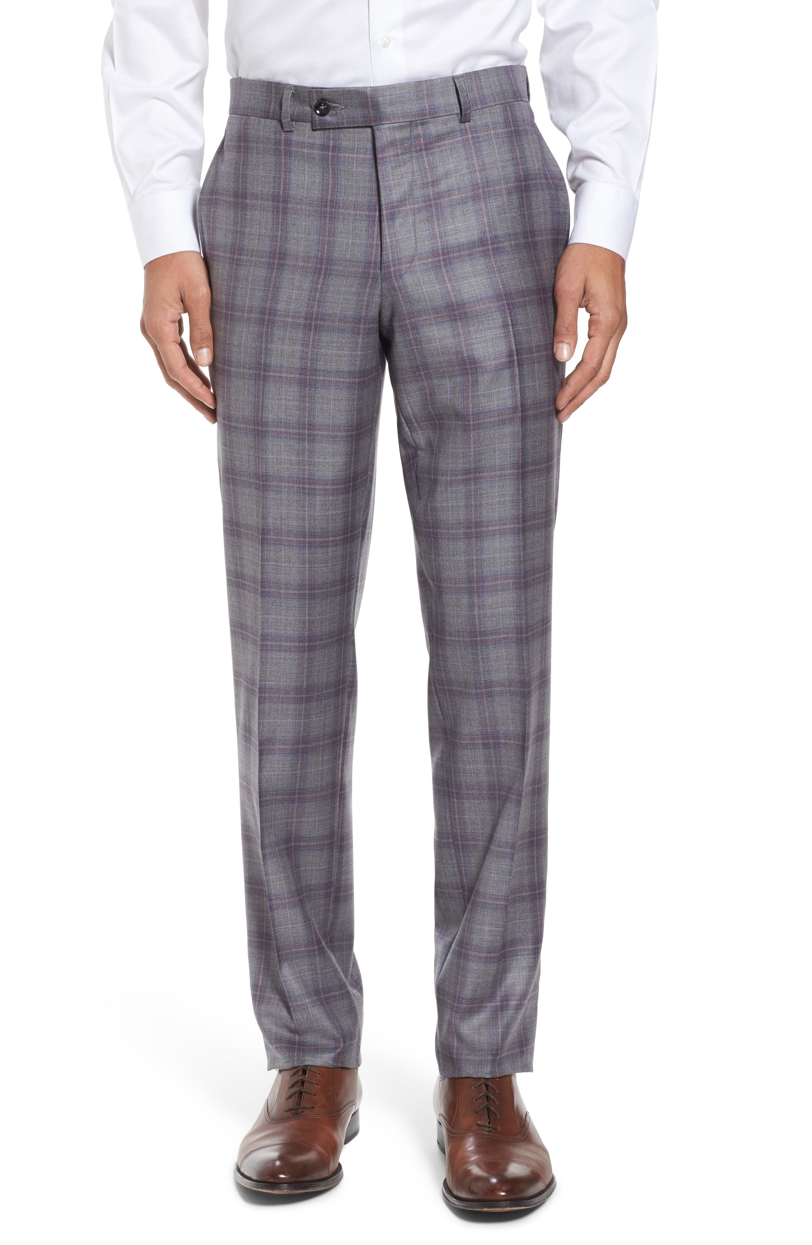 Jay Trim Fit Plaid Wool Suit,                             Alternate thumbnail 6, color,                             020