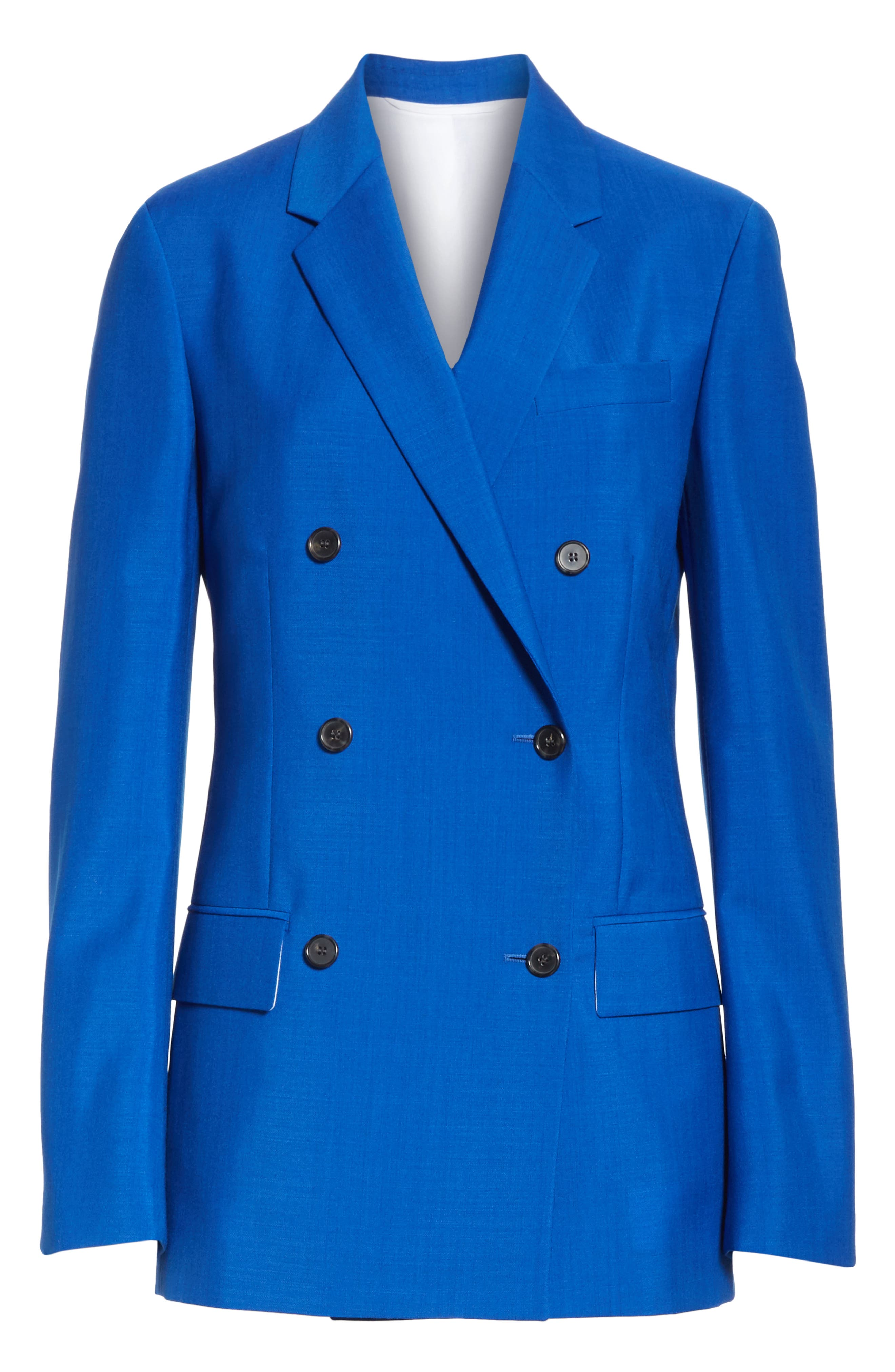 Mohair & Wool Double Breasted Blazer,                             Alternate thumbnail 5, color,                             BRIGHT BLUE