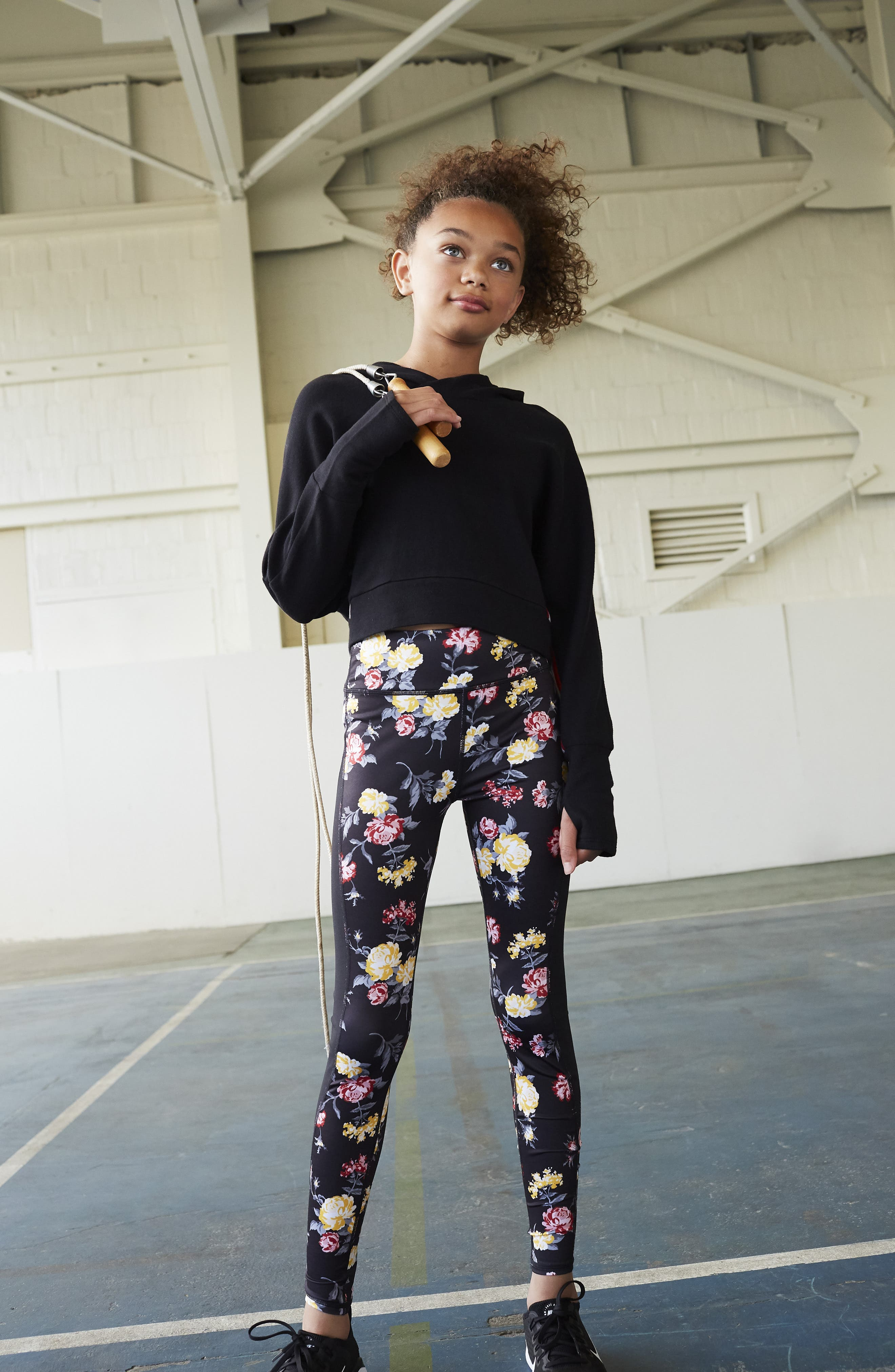Print High Waist Leggings,                             Alternate thumbnail 4, color,                             BLACK CHINTZY FLORAL