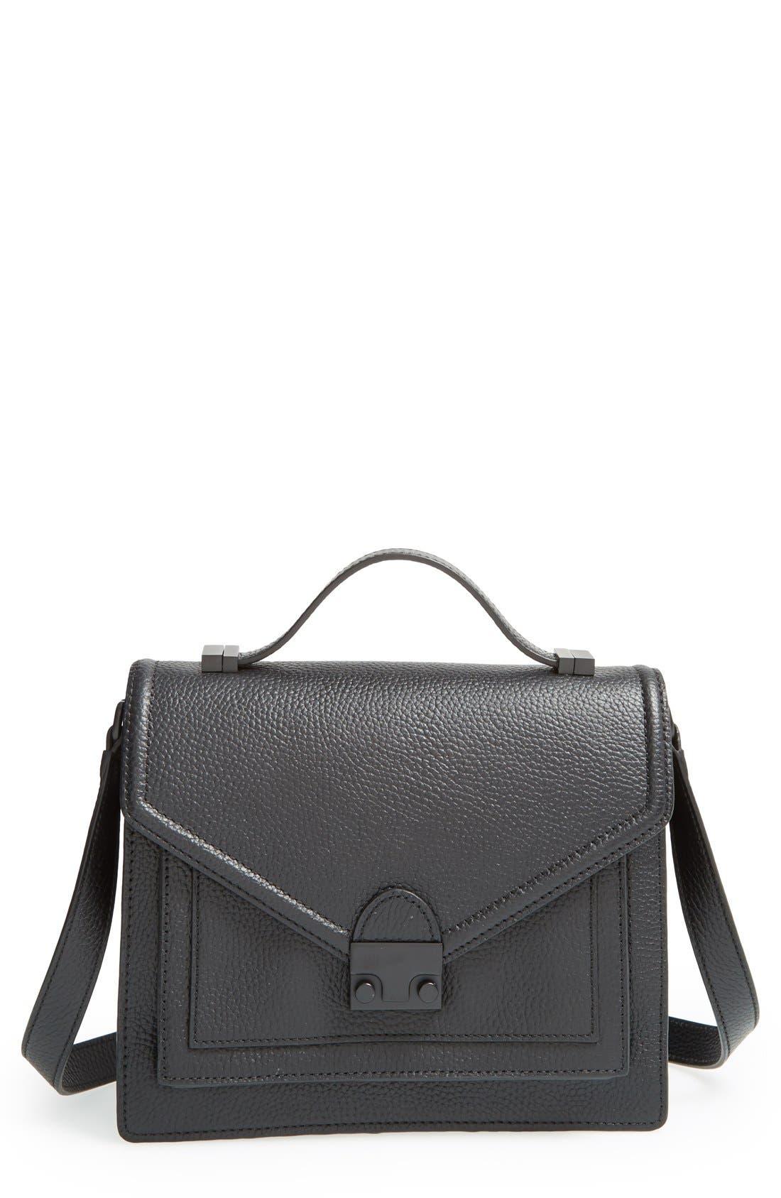 LOEFFLER RANDALL 'Medium Rider' Leather Top Handle Satchel, Main, color, 001