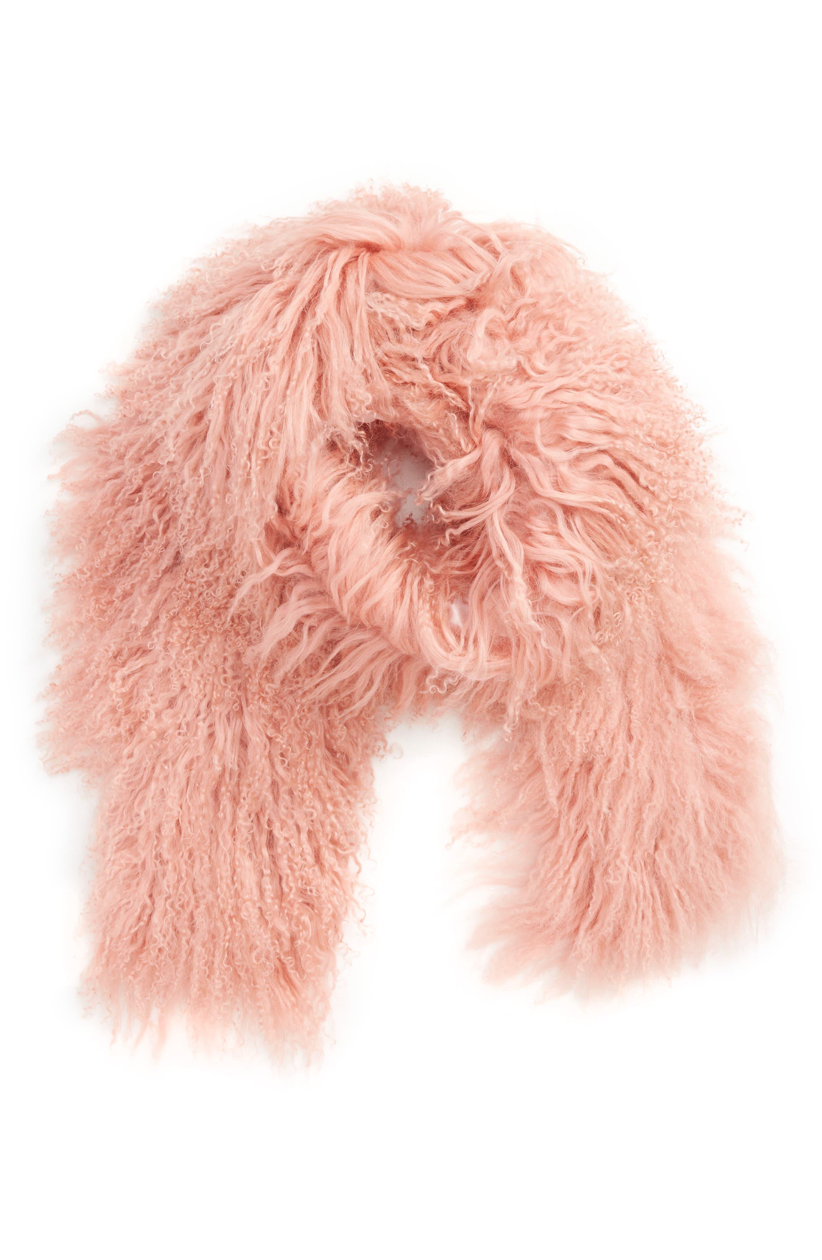 Genuine Mongolian Lamb Fur Scarf,                             Main thumbnail 1, color,                             650