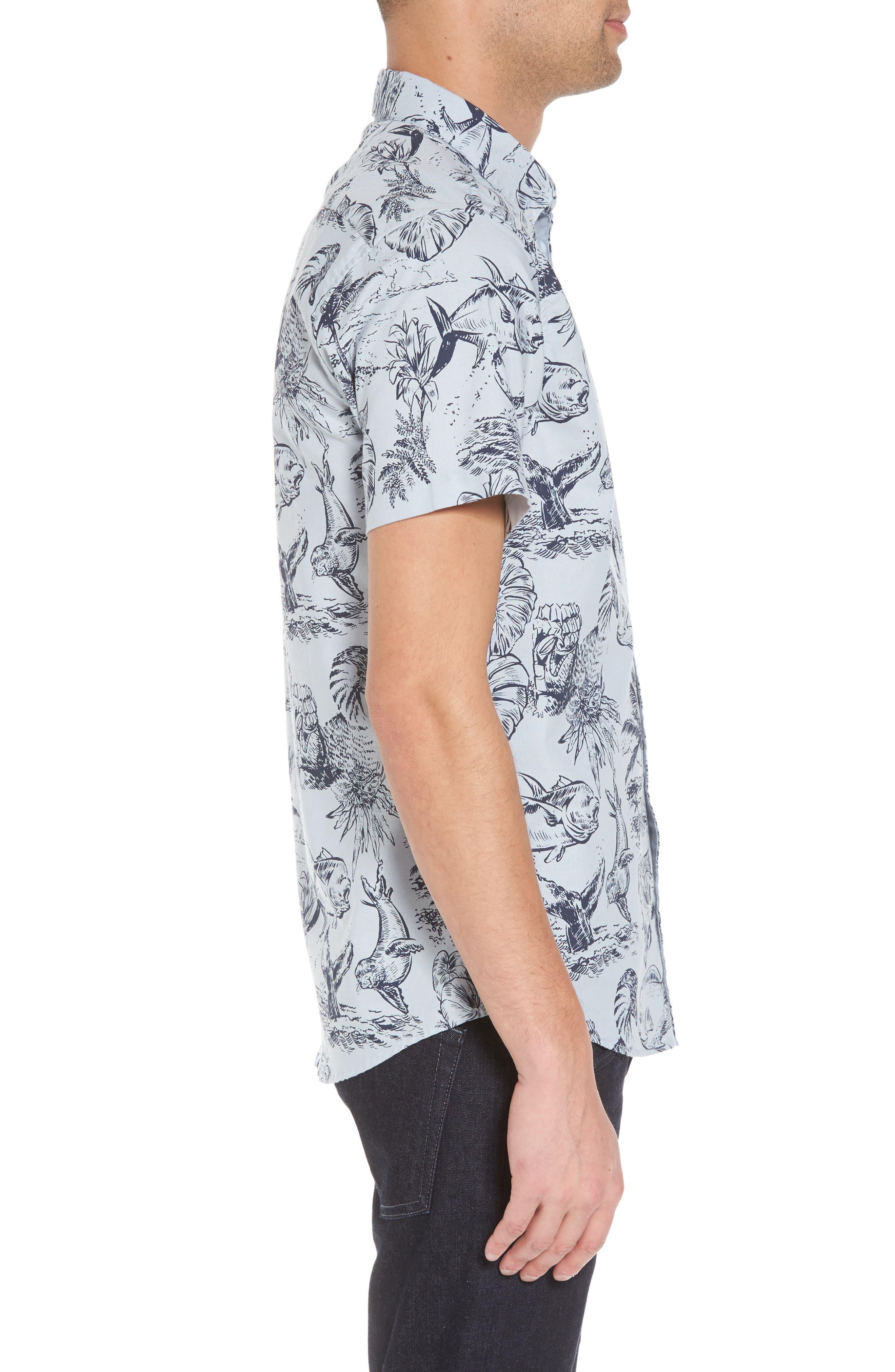 Aloha Woven Shirt,                             Alternate thumbnail 3, color,                             400