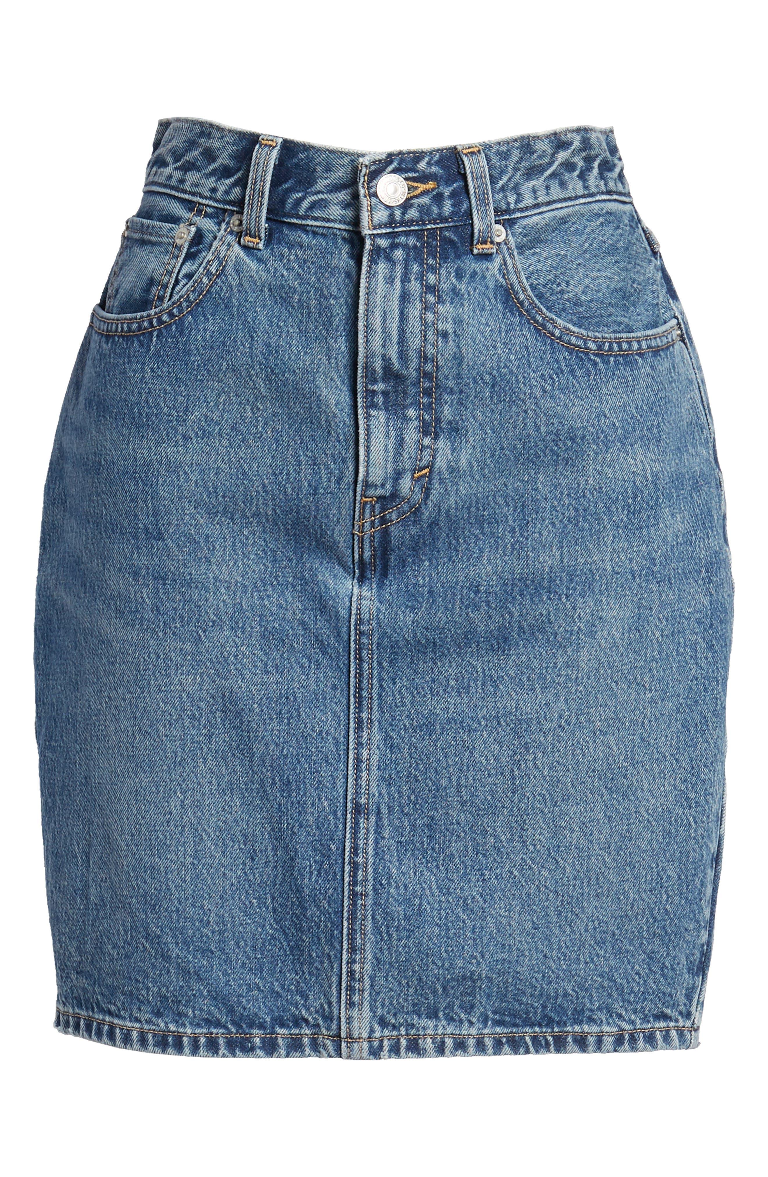 Mom Bow Back Denim Skirt,                             Alternate thumbnail 7, color,                             420