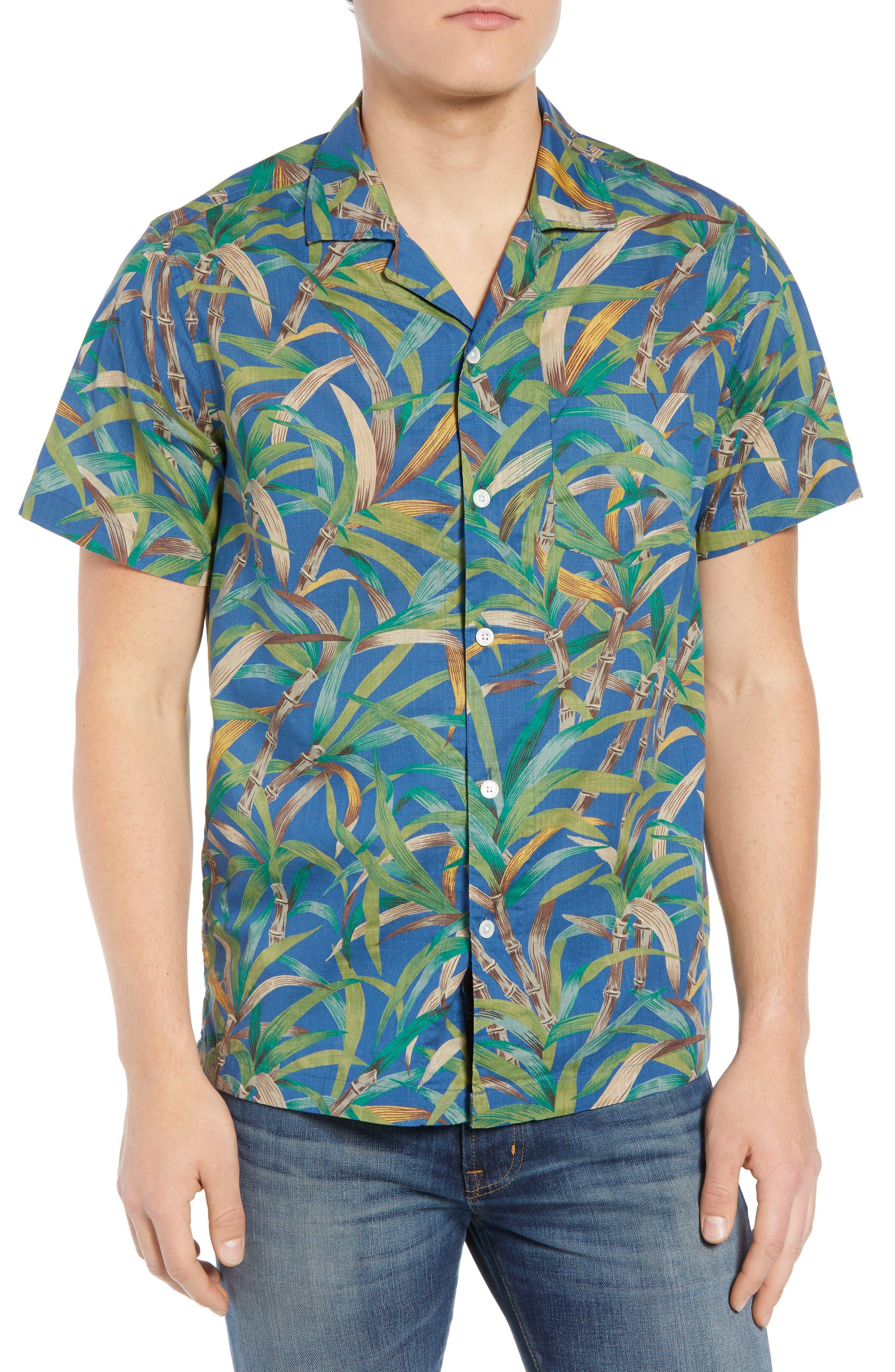Regular Fit Leaf Print Slub Cotton Sport Shirt,                         Main,                         color, 500