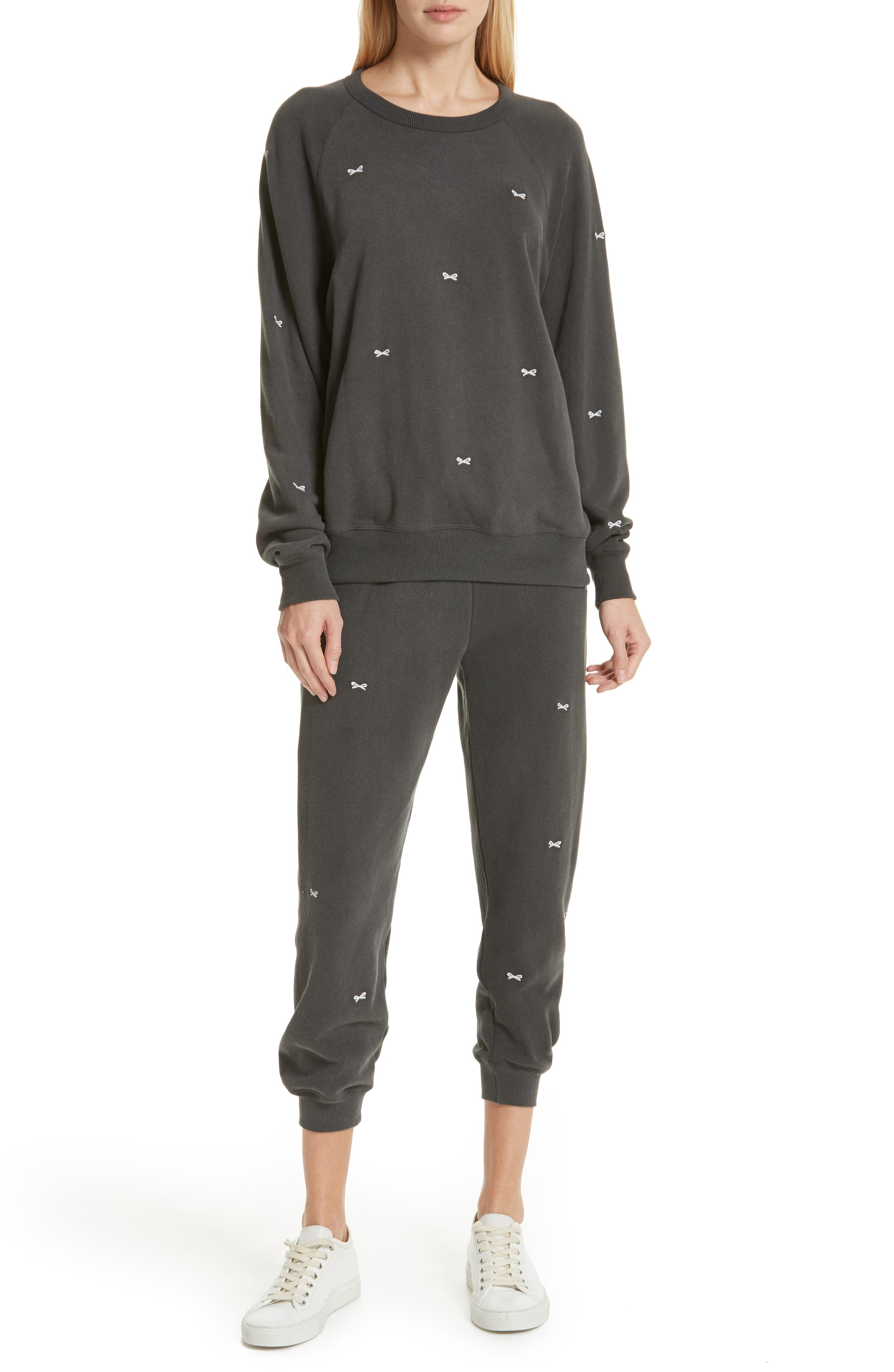 The Cropped Sweatpants,                             Alternate thumbnail 7, color,                             WASHED BLACK/ WHITE