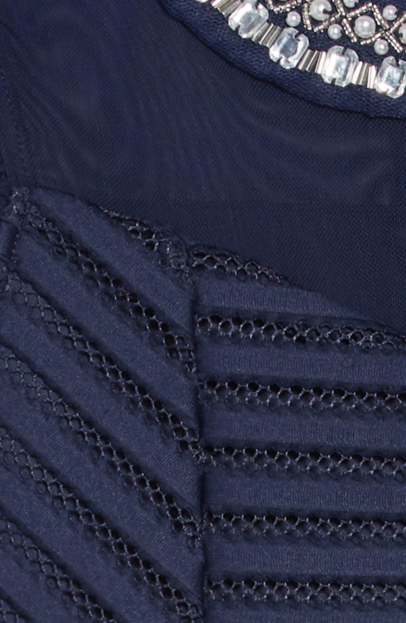 Mesh Stripe Dress,                             Alternate thumbnail 3, color,                             NAVY