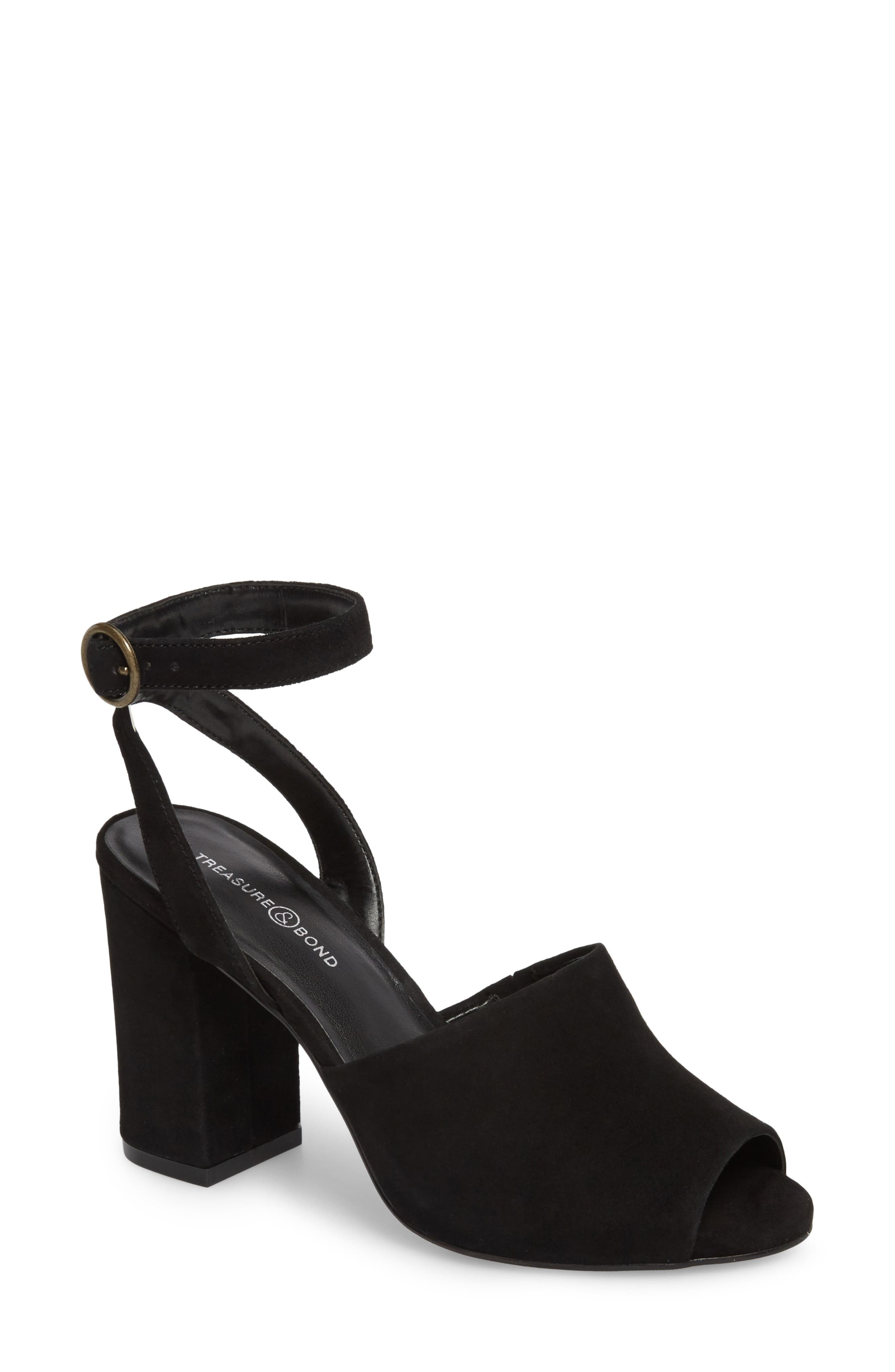 Pipper Block Heel Sandal,                         Main,                         color, BLACK SUEDE