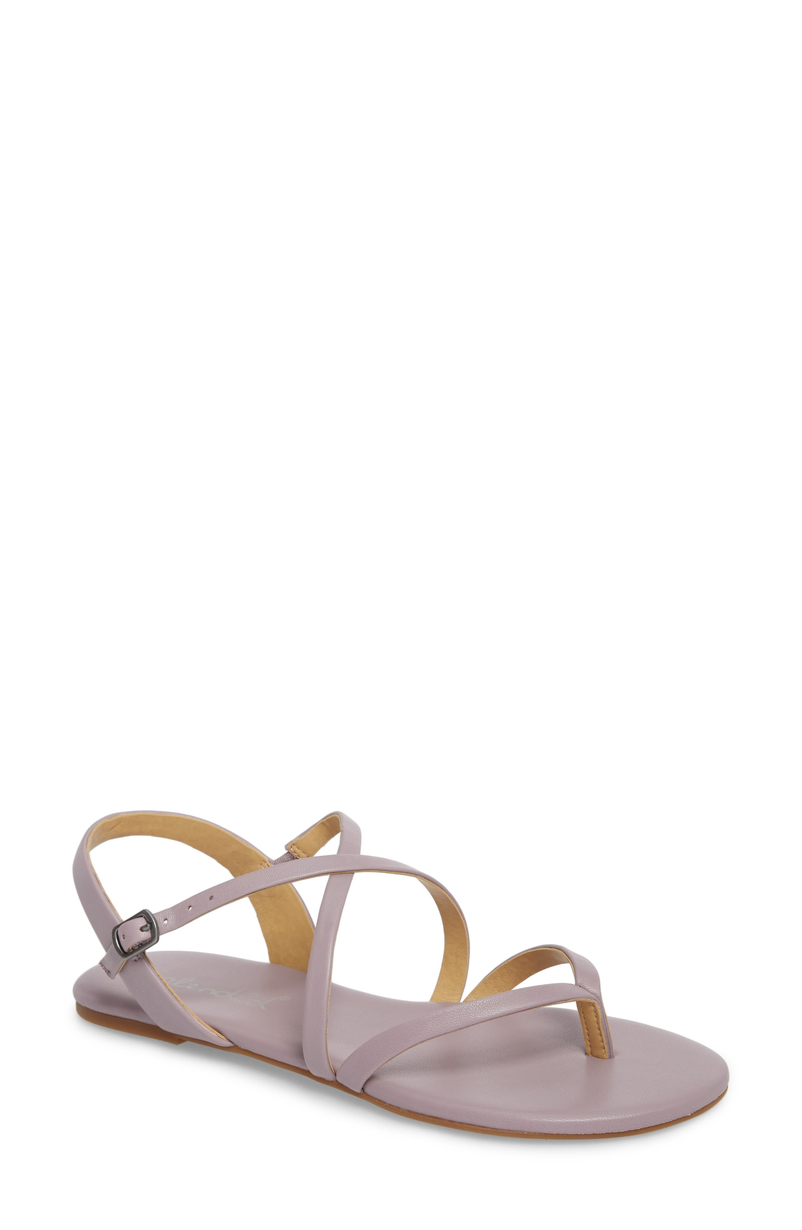 Brett Strappy Flat Sandal,                             Main thumbnail 1, color,                             WISTERIA LEATHER