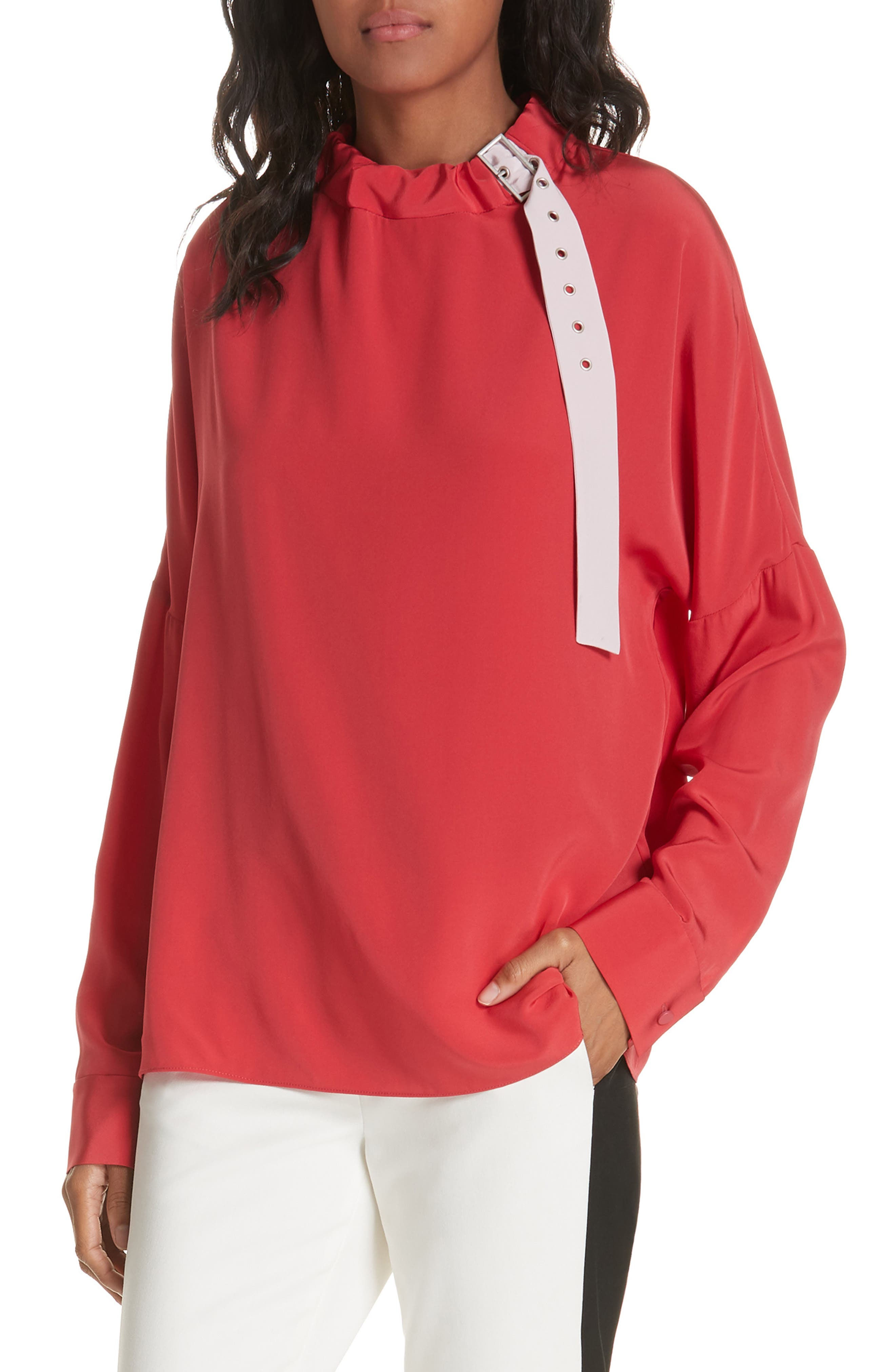 Tibi Silk Buckle Blouse, Red