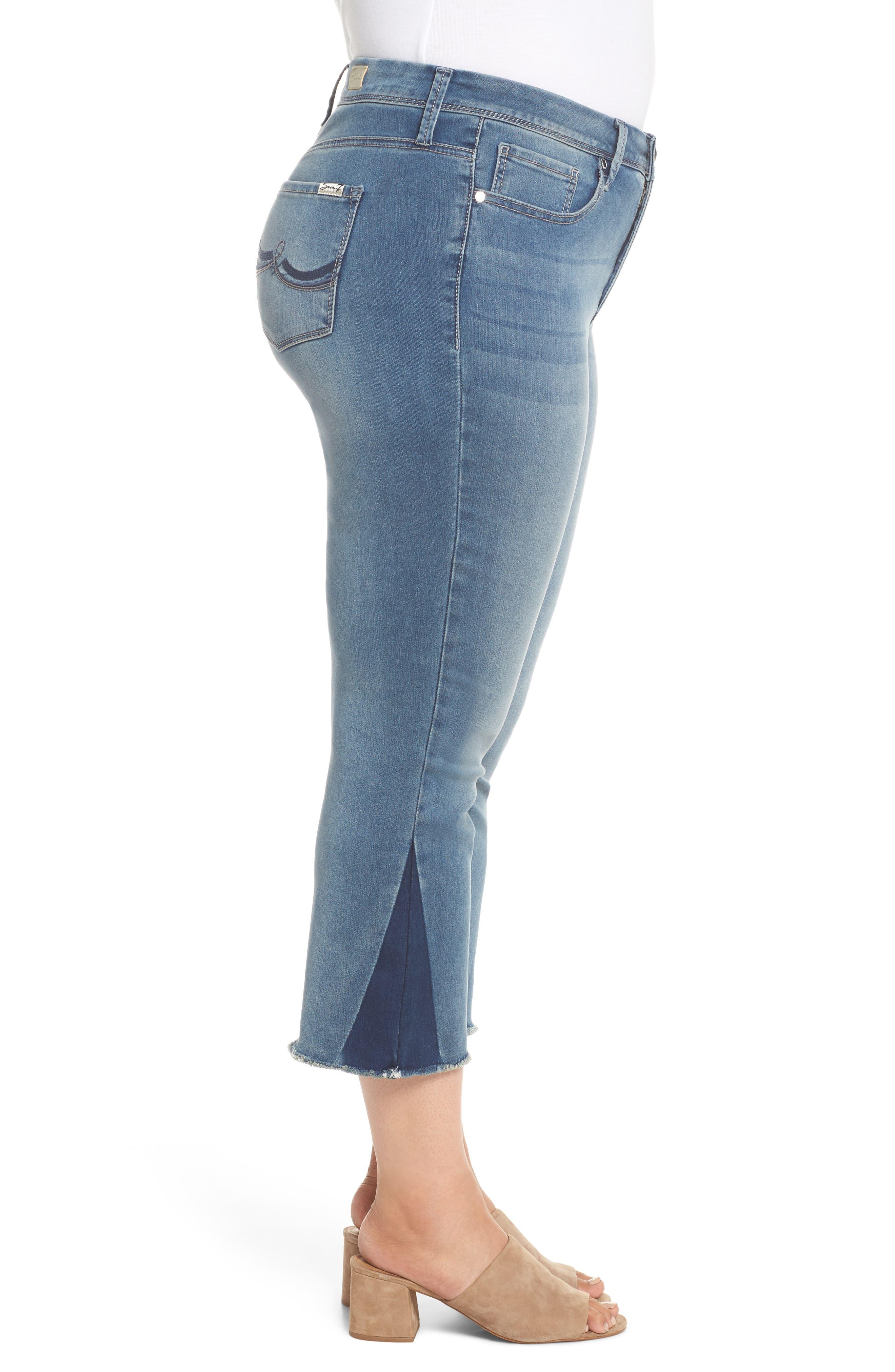 Shadow Godet Ankle Duster Jeans,                             Alternate thumbnail 3, color,                             LEVINE