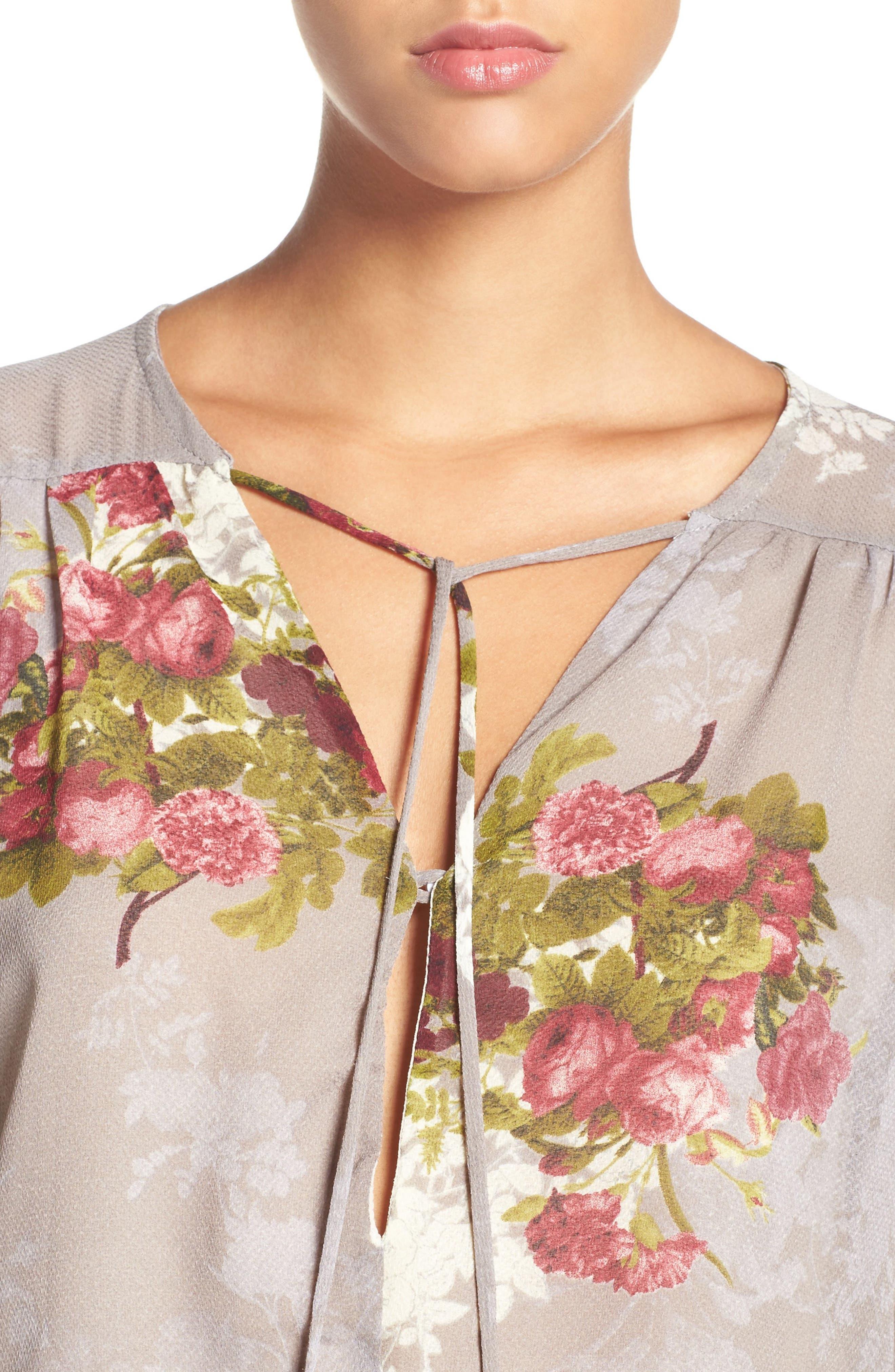 'Julia' Floral Print Tie Neck Romper,                             Alternate thumbnail 4, color,                             040