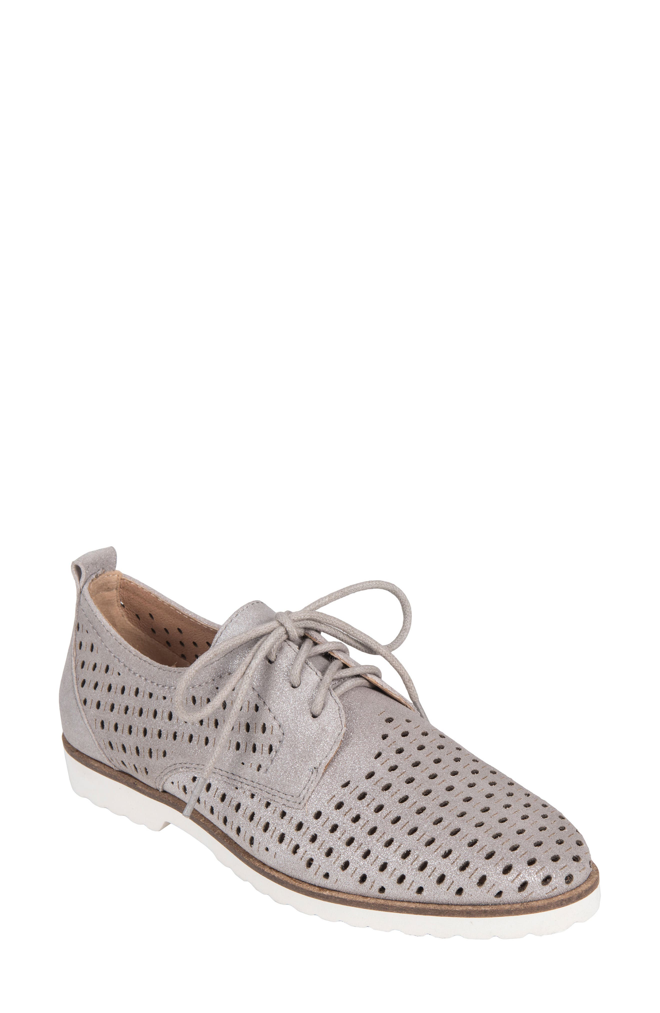 Camino Perforated Sneaker,                             Main thumbnail 1, color,                             SILVER METALLIC SUEDE