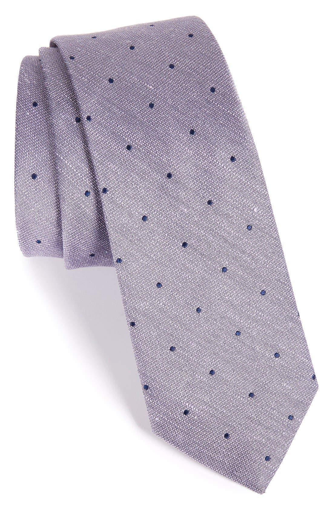 Dot Silk & Linen Tie,                             Main thumbnail 3, color,