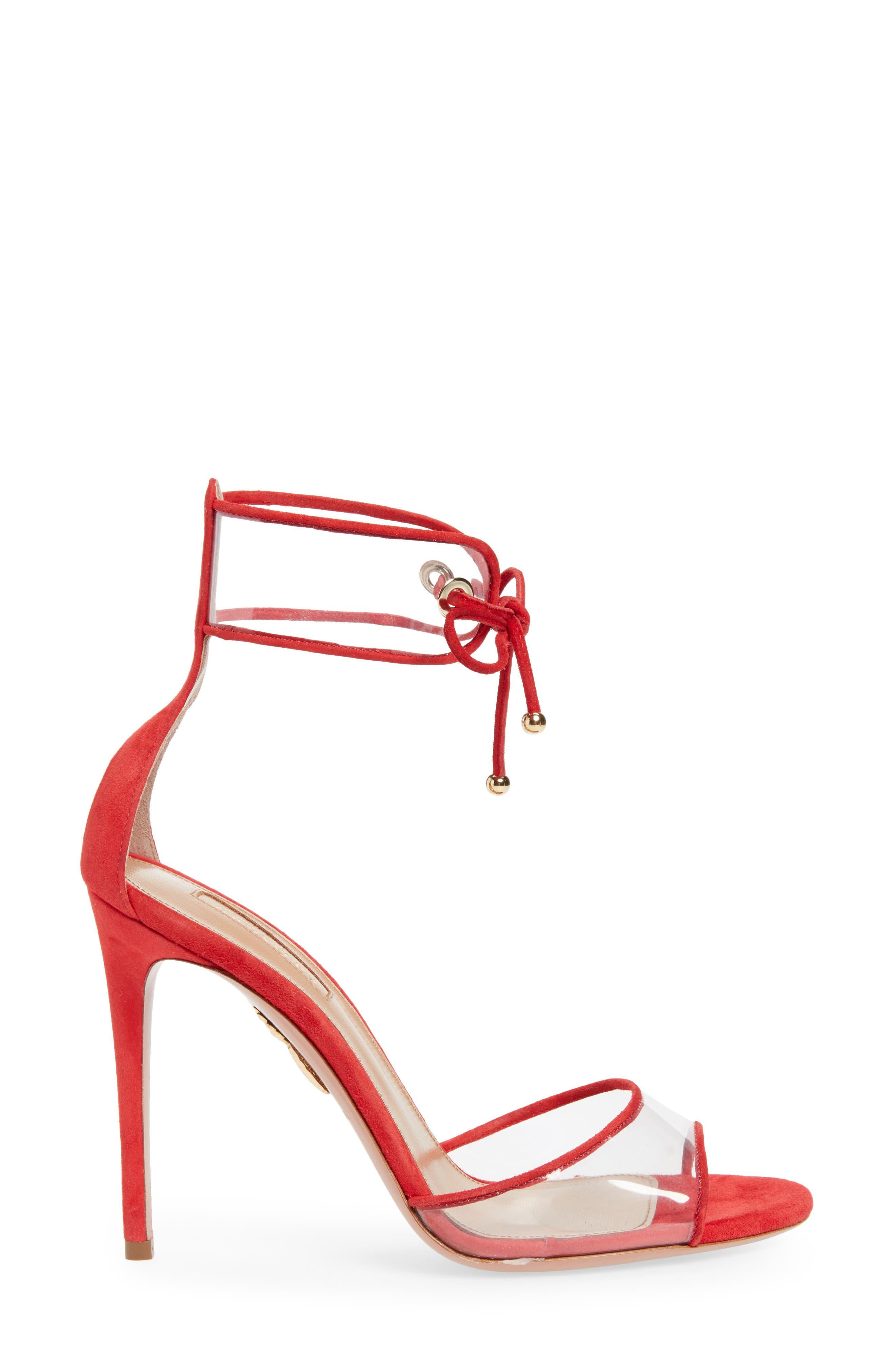 Optic Clear Ankle Tie Sandal,                             Alternate thumbnail 3, color,                             CARNATION RED