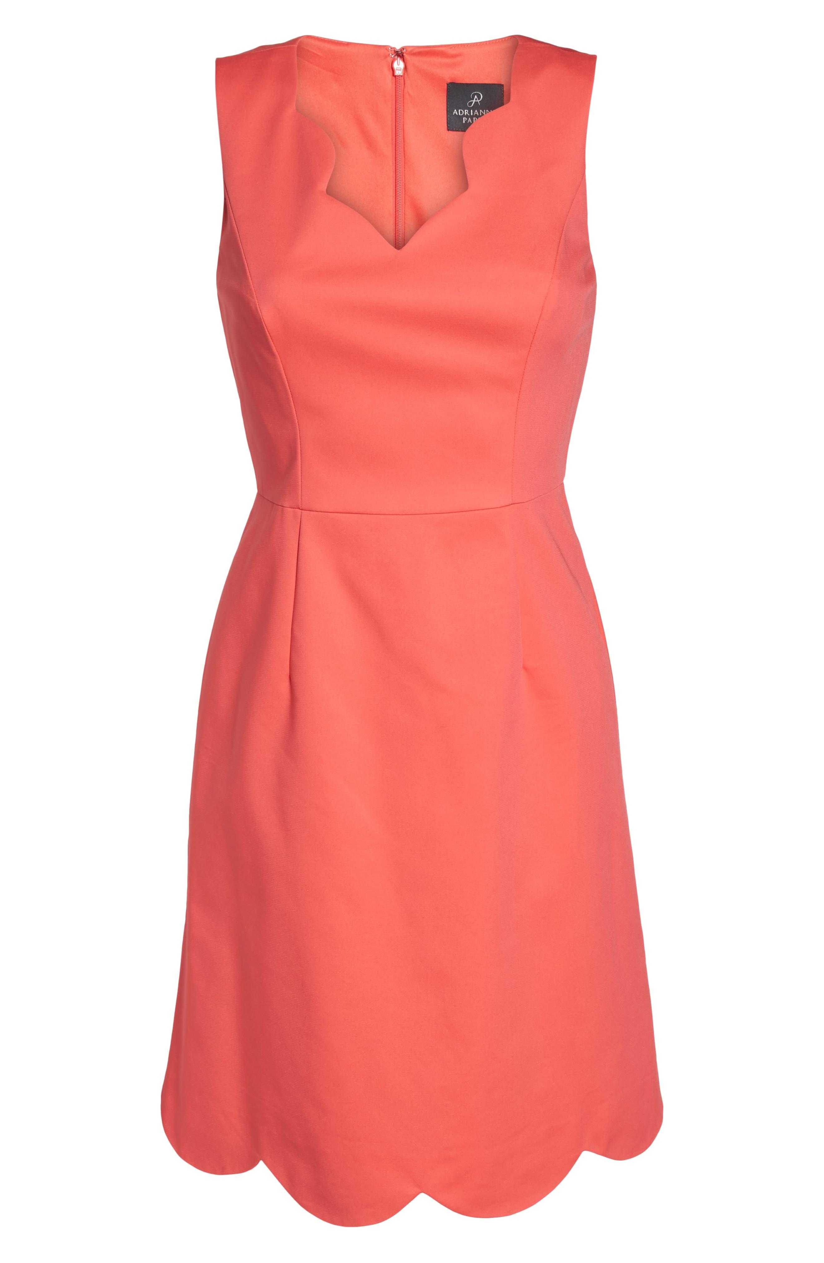 Elsa Scalloped Sheath Dress,                             Alternate thumbnail 6, color,                             650