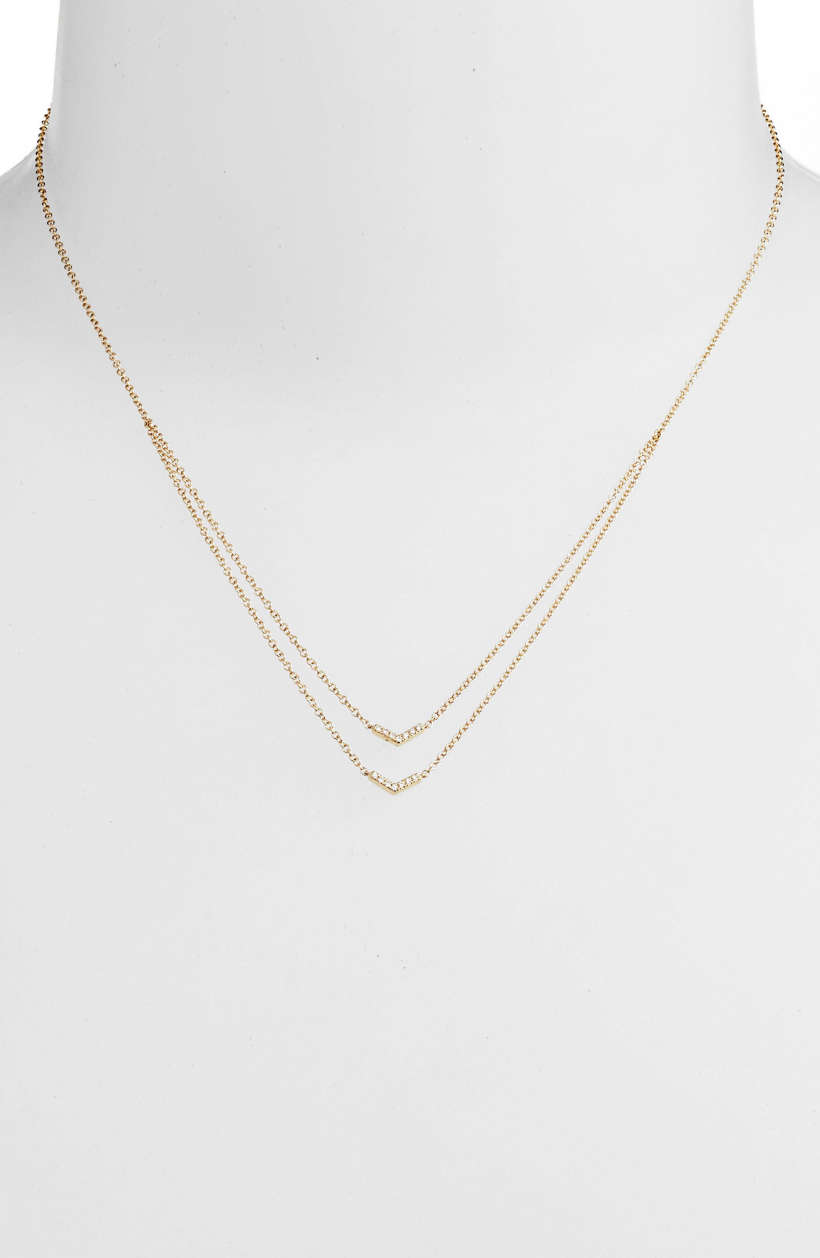 Double Row Chevron Diamond Necklace,                             Alternate thumbnail 2, color,                             YELLOW GOLD