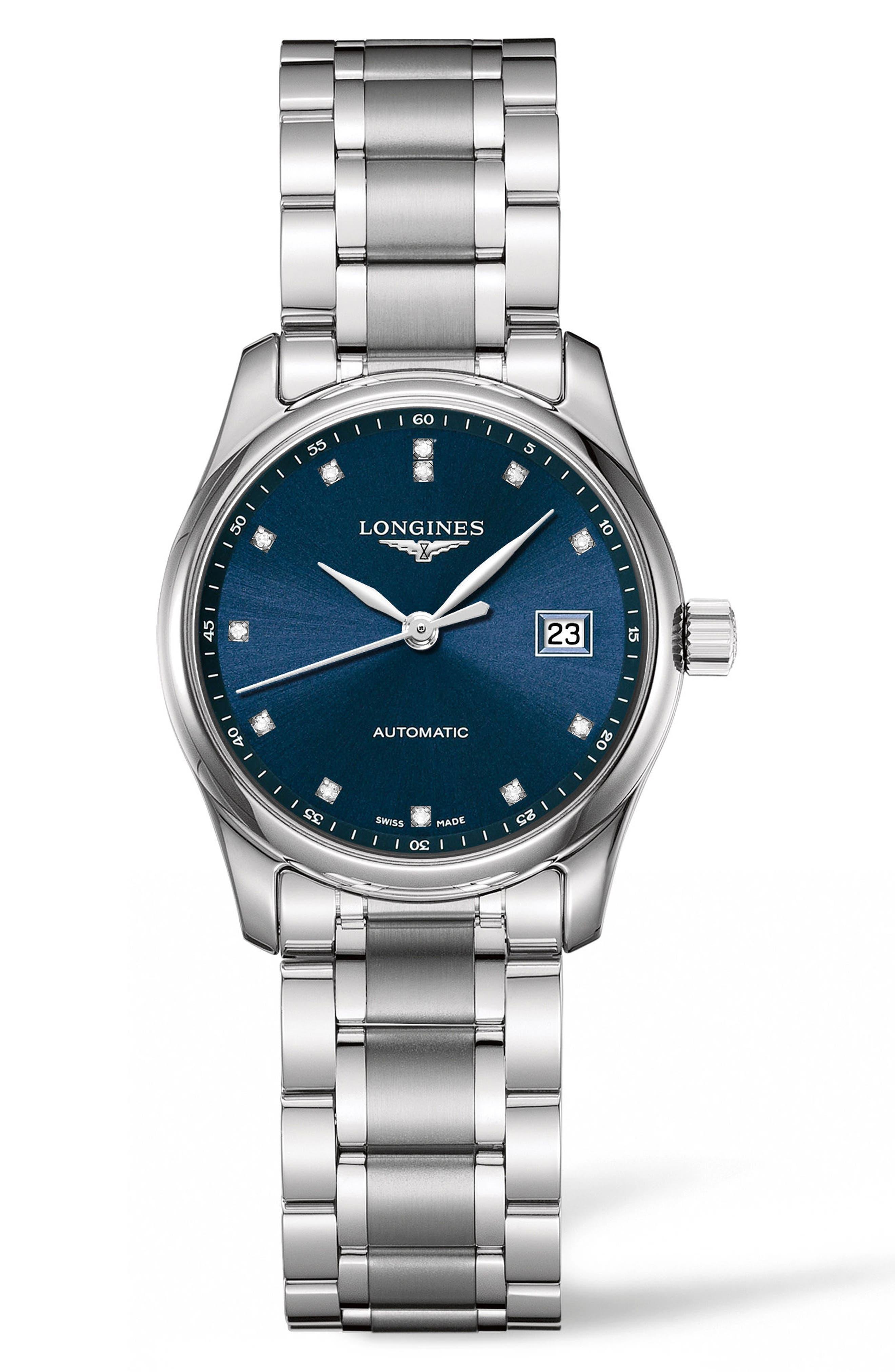 Master Diamond Automatic Bracelet Watch, 29mm,                             Main thumbnail 1, color,                             SILVER/ BLUE/ SILVER