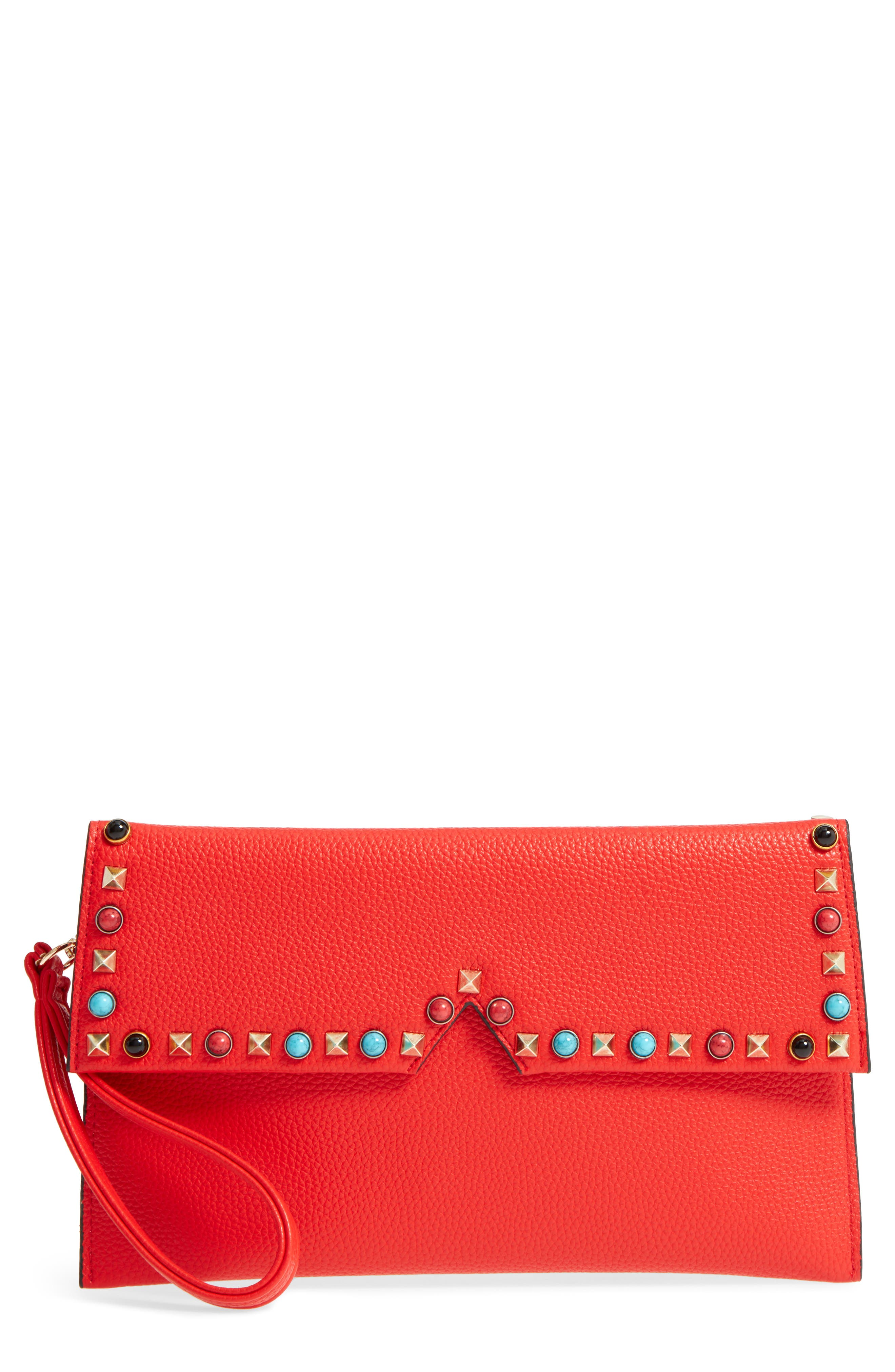 SR Squared by Sondra Roberts Studded Faux Leather Clutch,                             Main thumbnail 1, color,                             600