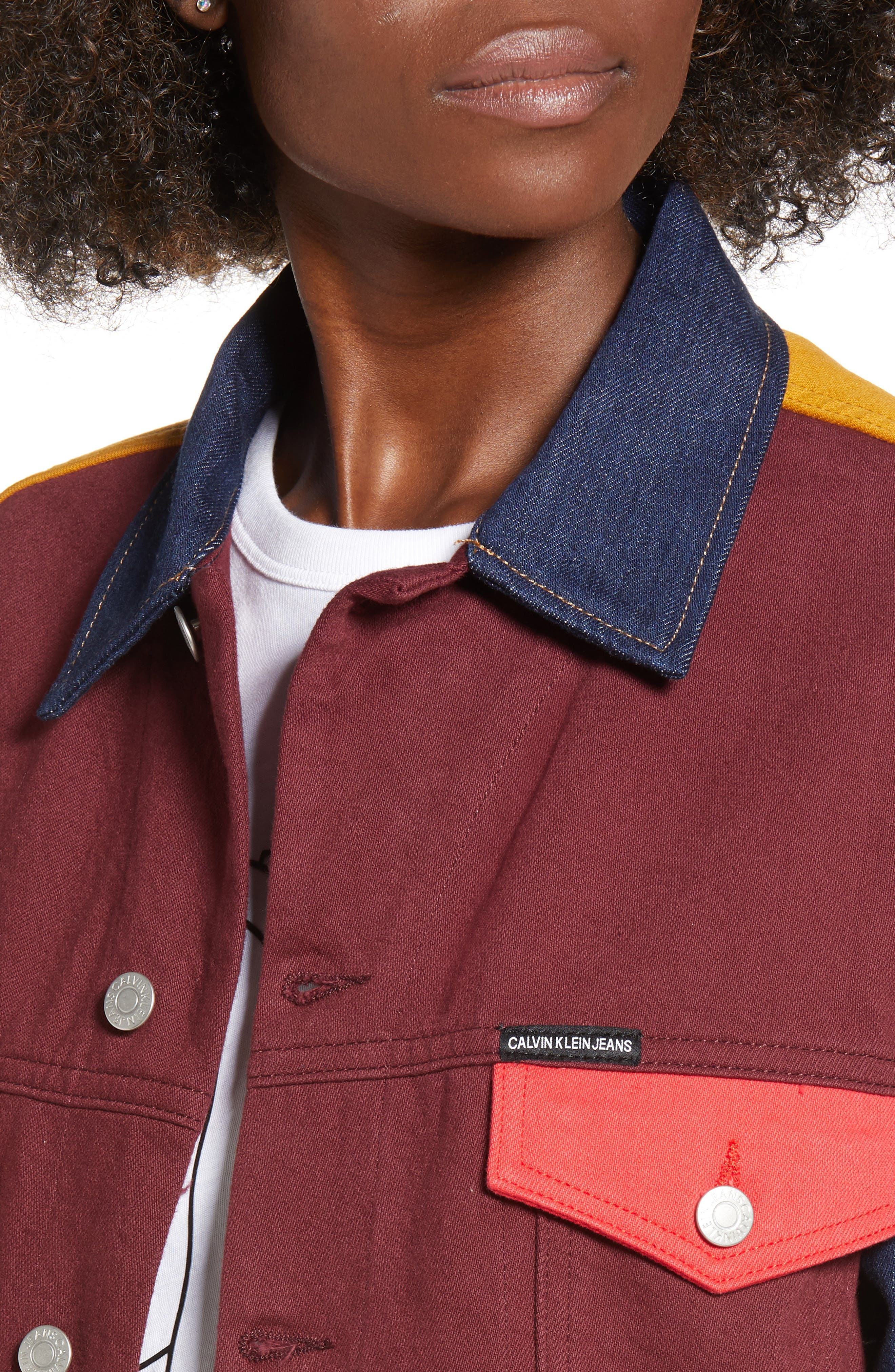 Colorblock Trucker Jacket,                             Alternate thumbnail 4, color,                             UKELELY PATCH