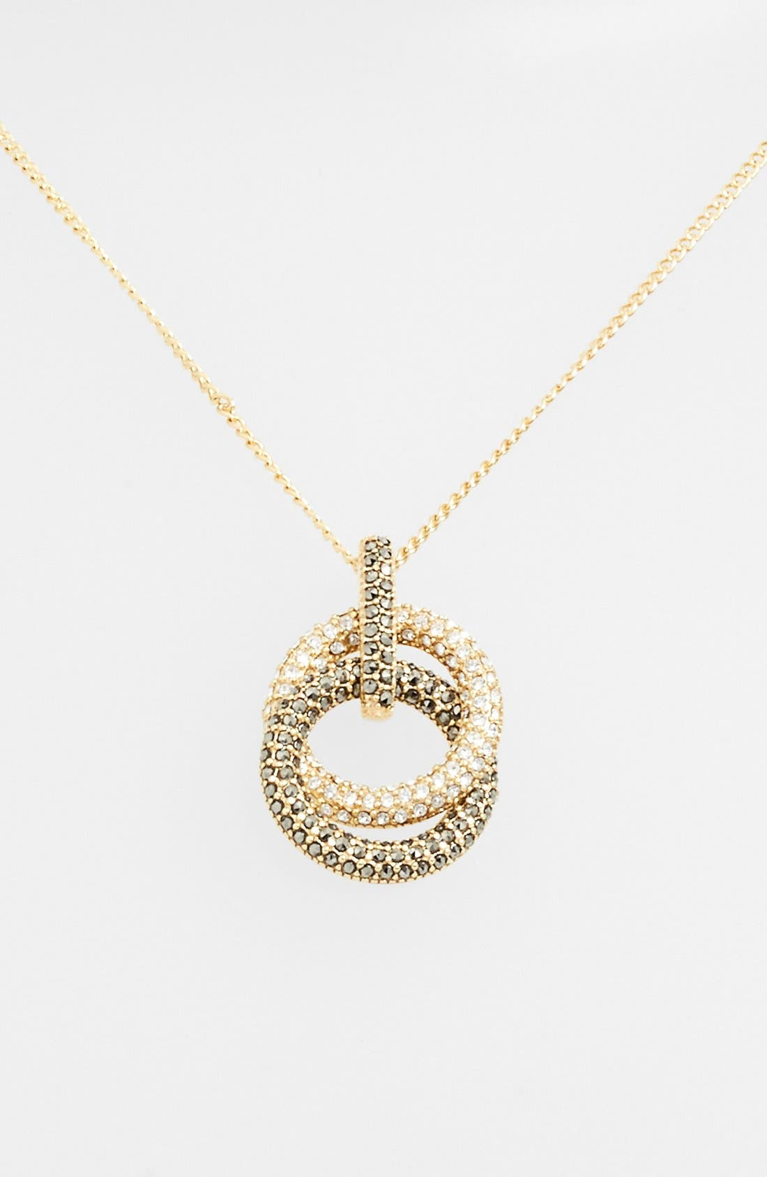 Pavé Double Circle Pendant Necklace,                         Main,                         color, 710