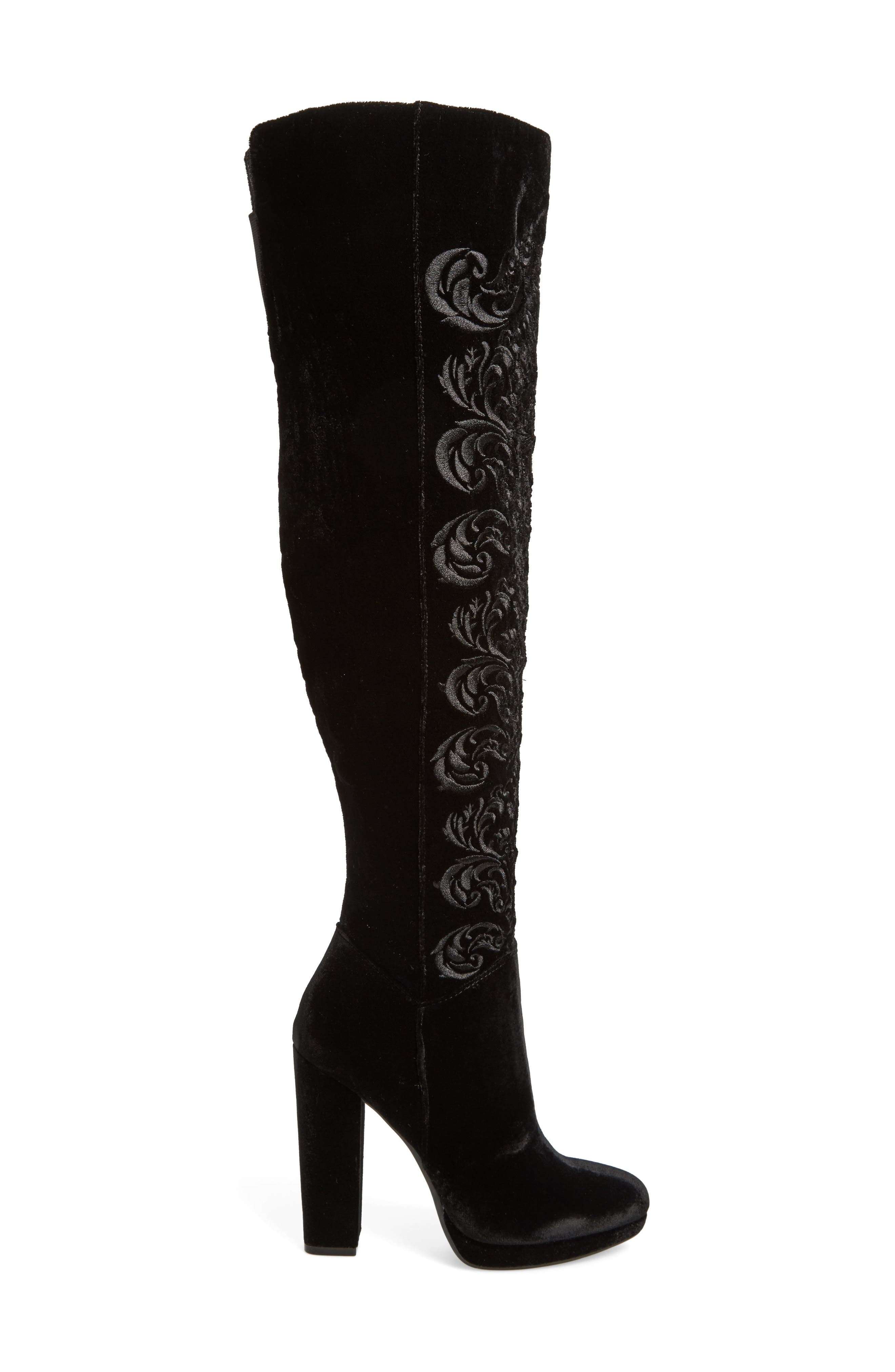 Grizella Embroidered Over the Knee Boot,                             Alternate thumbnail 3, color,                             001