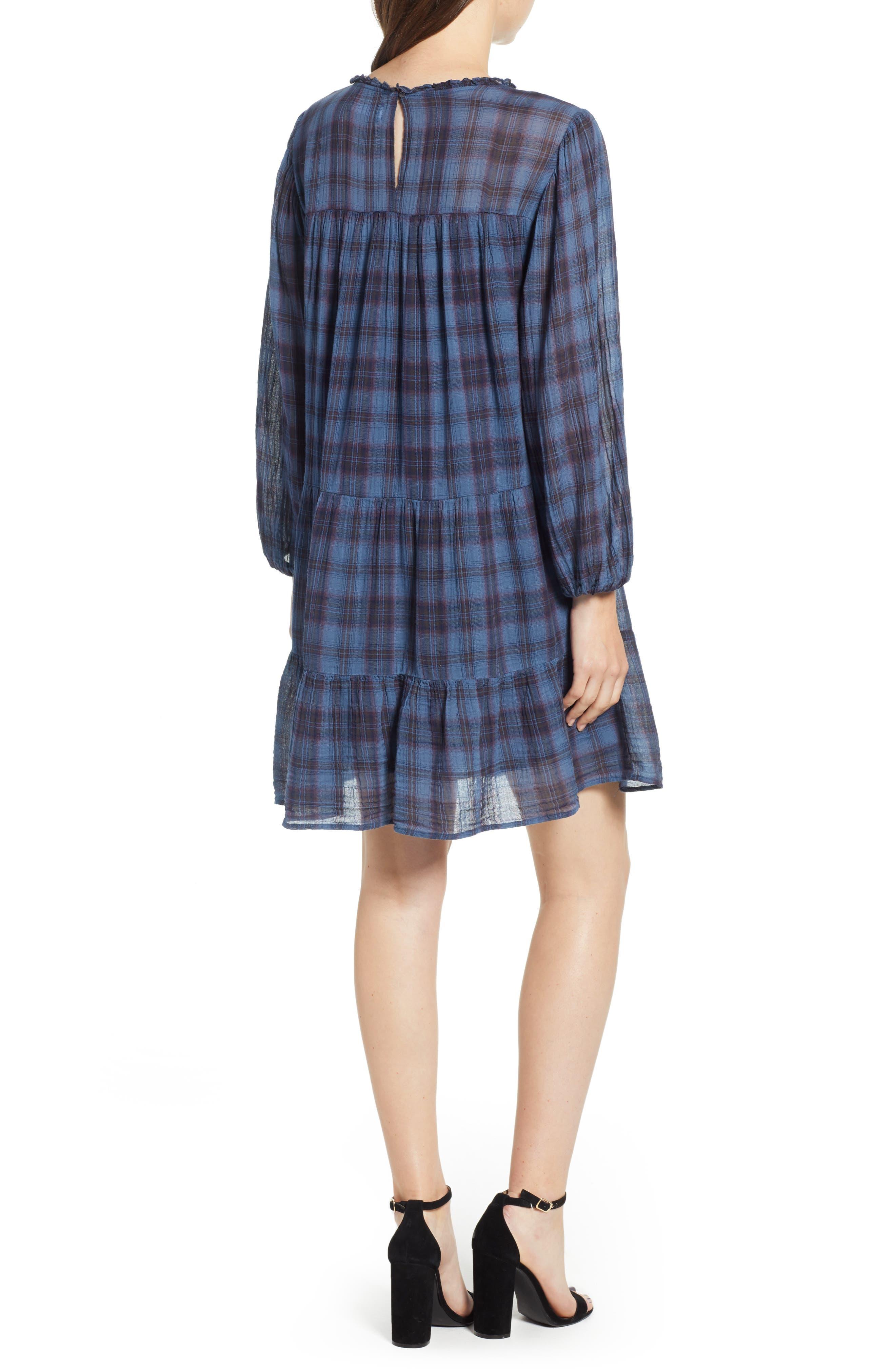 Soft Tiered Plaid Cotton Shift Dress,                             Alternate thumbnail 2, color,                             437